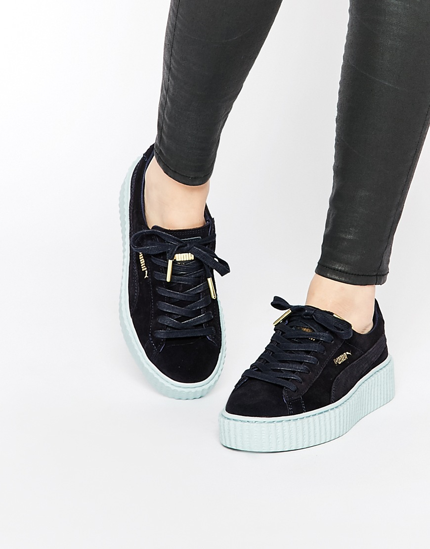 check out 9f4ac 25670 PUMA Blue By Rihanna Navy Cloud Suede Creeper Trainers