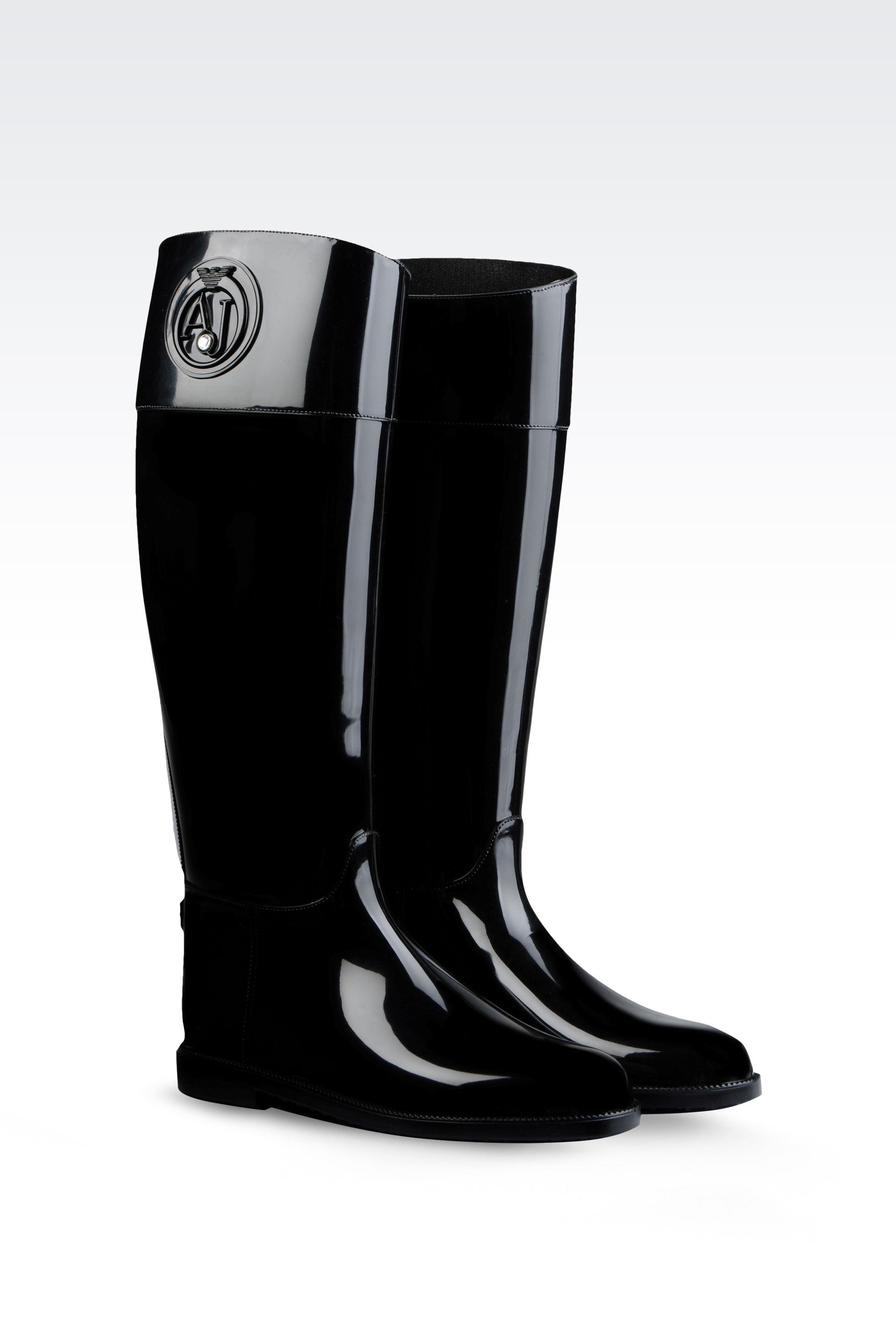 lyst armani jeans rubber rain boot in black. Black Bedroom Furniture Sets. Home Design Ideas