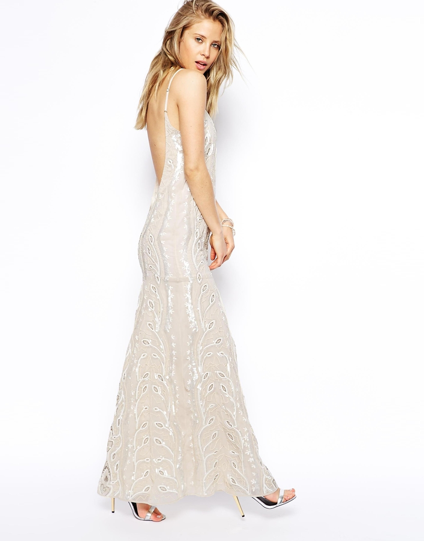 8b03d439a2557 Lyst - Needle   Thread Chalk Lace Maxi Dress in Natural