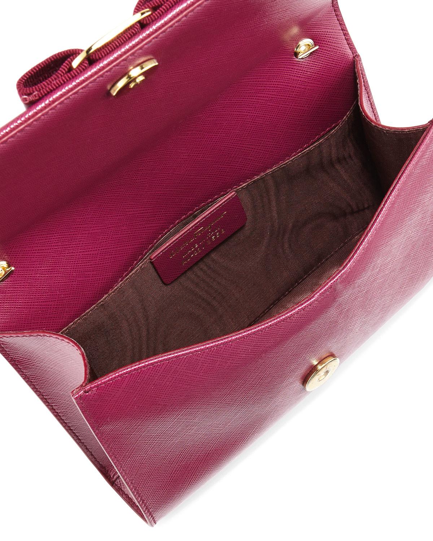Lyst - Ferragamo Miss Vara Bow Clip Crossbody Bag in Red 63854dcac412b