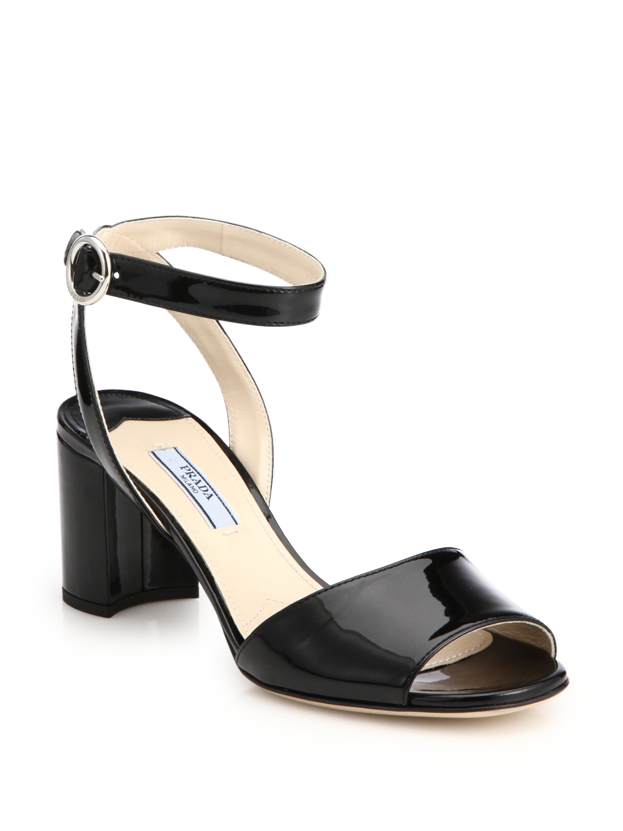 50b754d2ba0 Lyst - Prada Patent Leather Block-Heel Sandals in Black