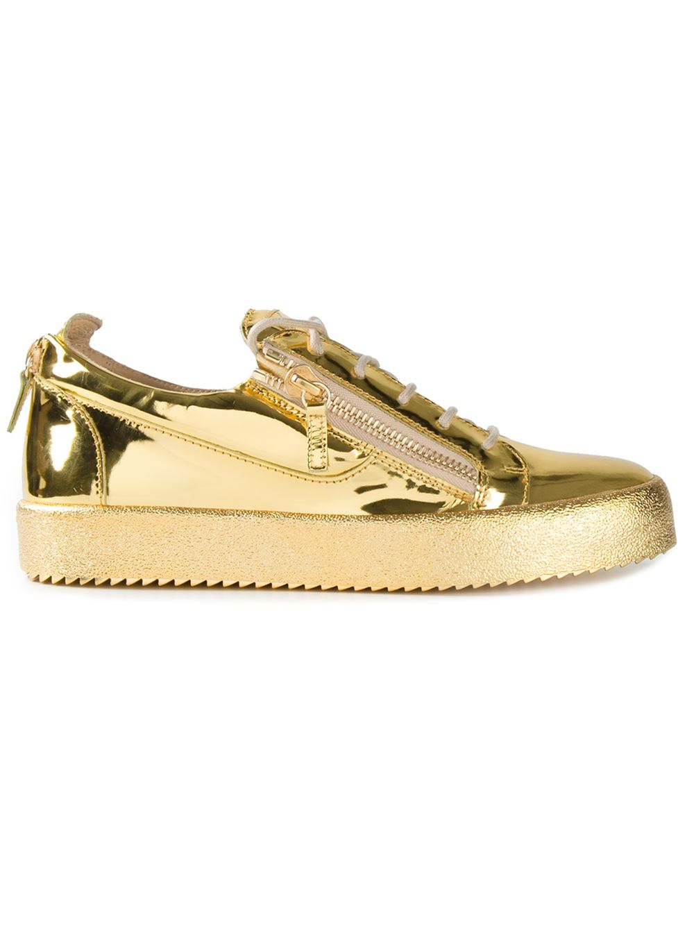 Giuseppe Zanotti Zip Detail Low Sneakers In Gold For Men