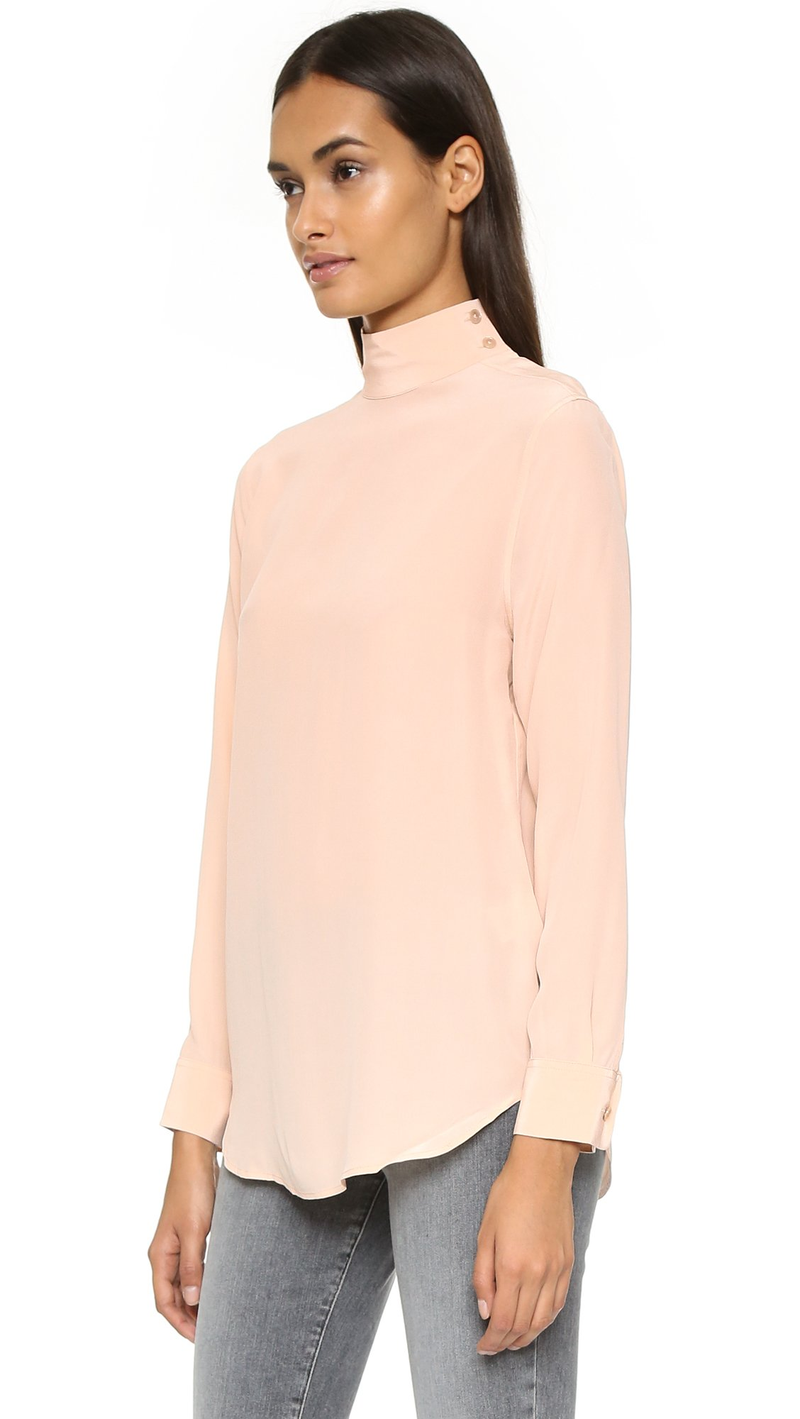 Equipment Curtis Mock Neck Silk Blouse In Natural Lyst