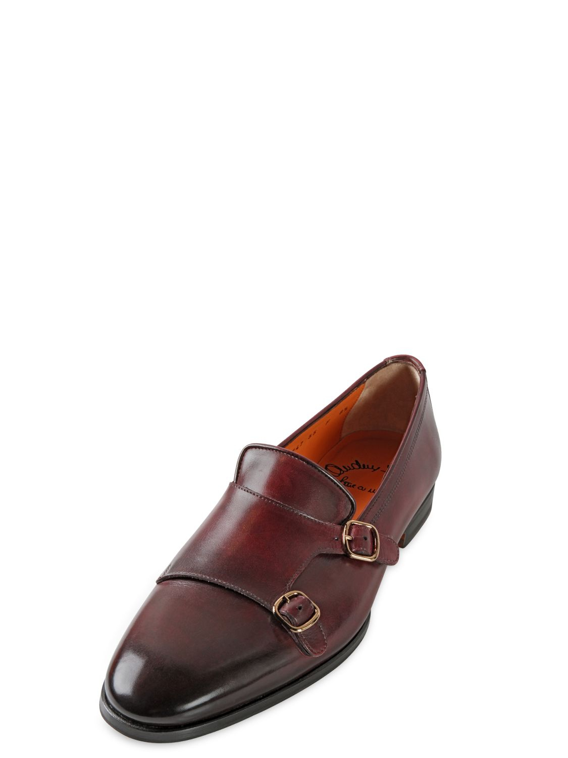 Santoni Hand Painted Leather Monk Strap Loafers In