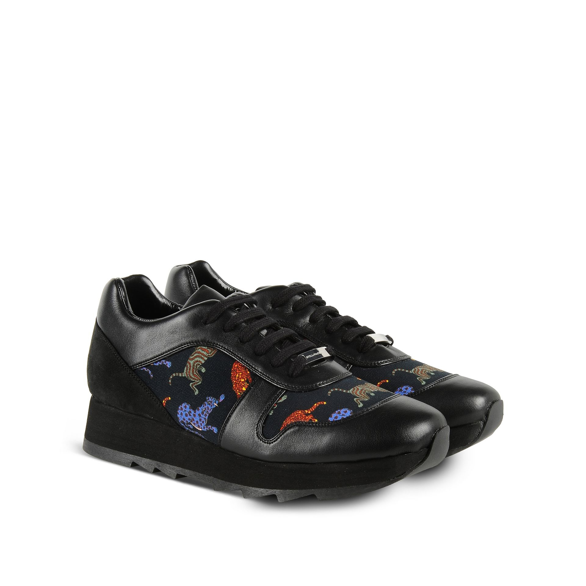 Stella McCartney Lace Macy Crouching Cat Sneakers in Black