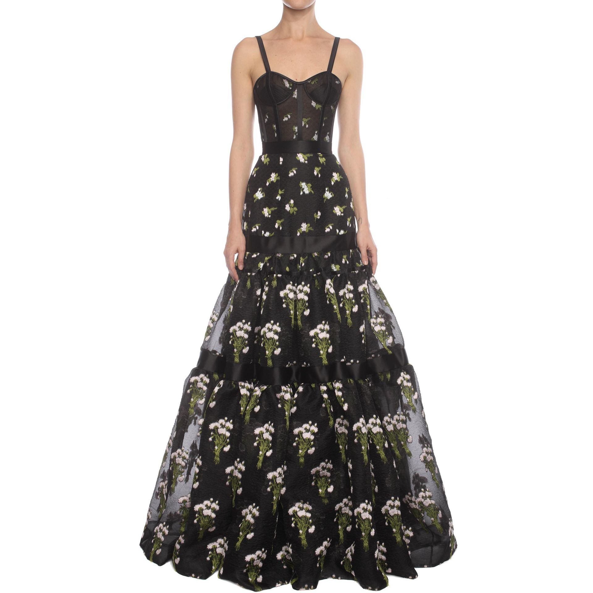 Alexander mcqueen Long Tier Violet Jacquard Dress | Lyst