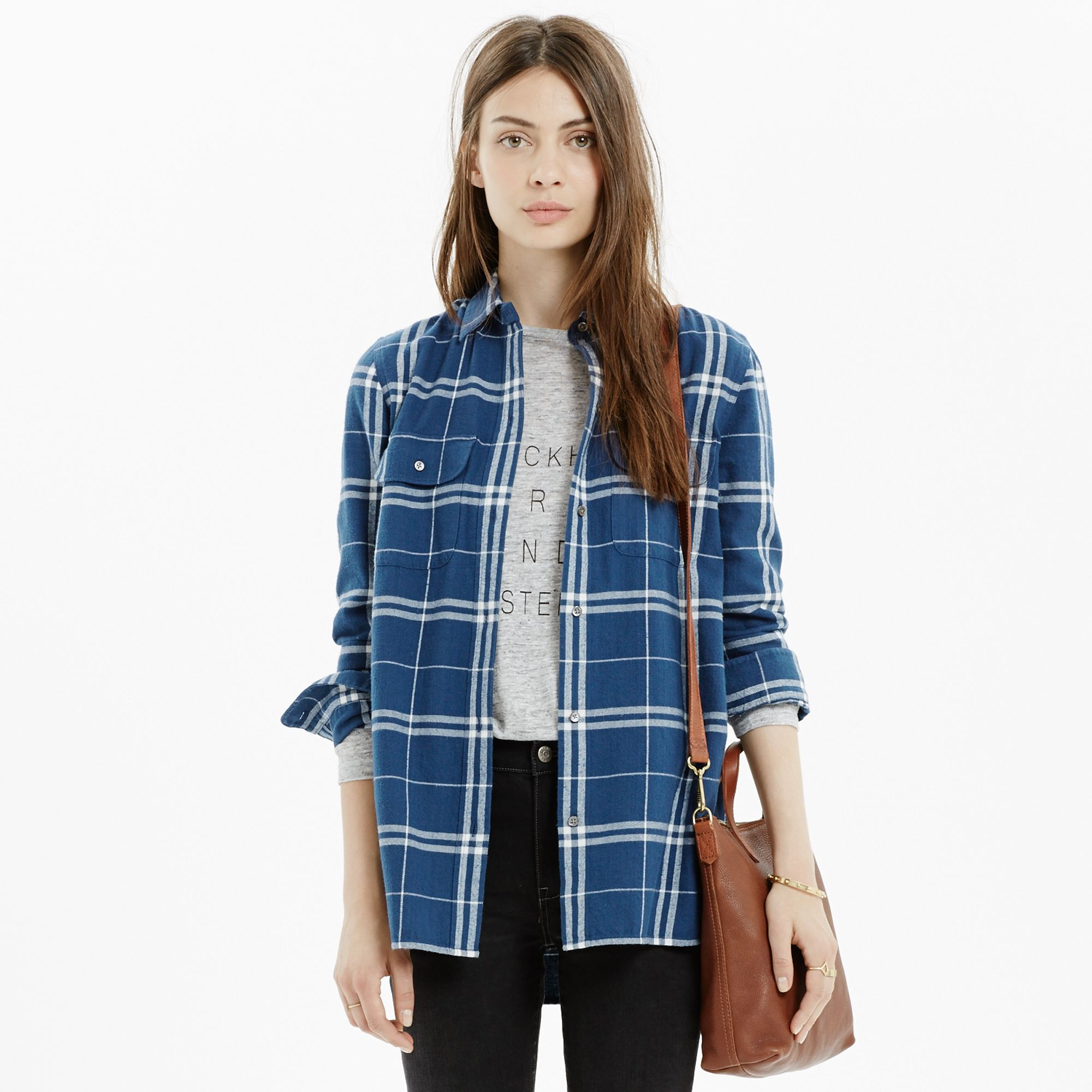 b678262b86e Lyst - Madewell Flannel Ex-Boyfriend Shirt In Aurora Plaid in Blue