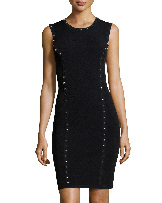 Michael Kors Studded Sleeveless Dress in Black | Lyst