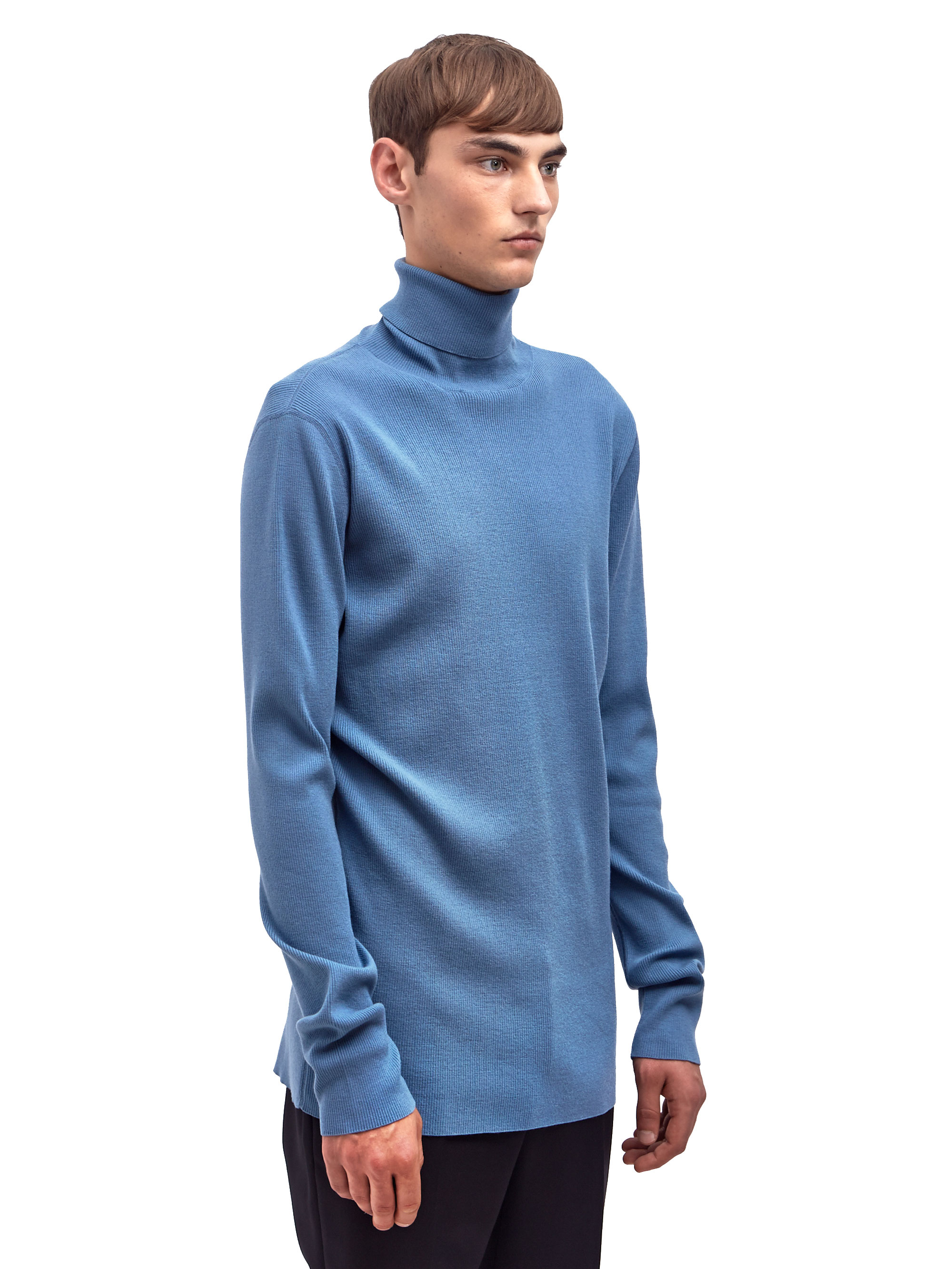Https Www Lyst Com Clothing Lanvin Mens Rib Stitch Turtle Neck Sweater Blue 1