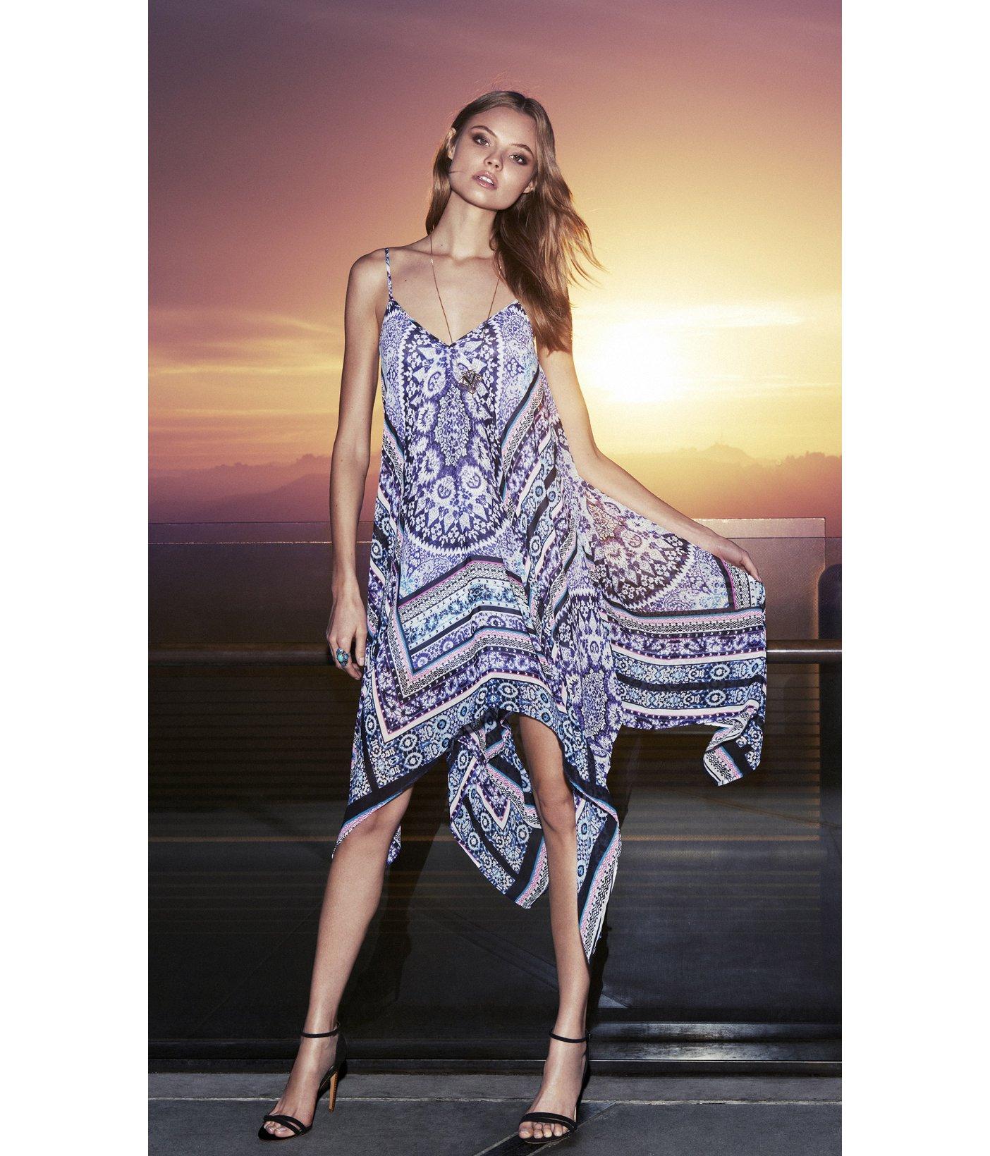 Express Trapeze Handkerchief Hem Maxi Dress in Purple - Lyst