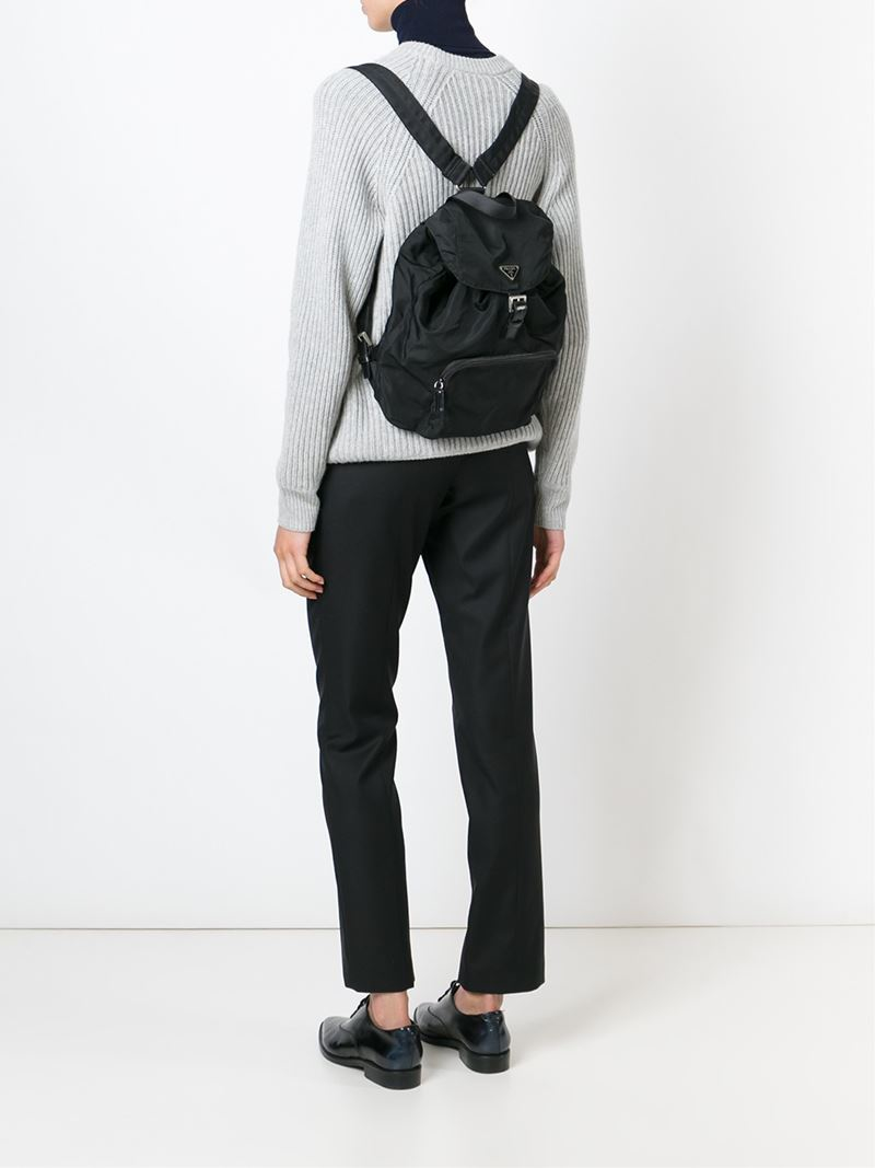 c0fc1a9931e3 Prada Classic Backpack in Black - Lyst