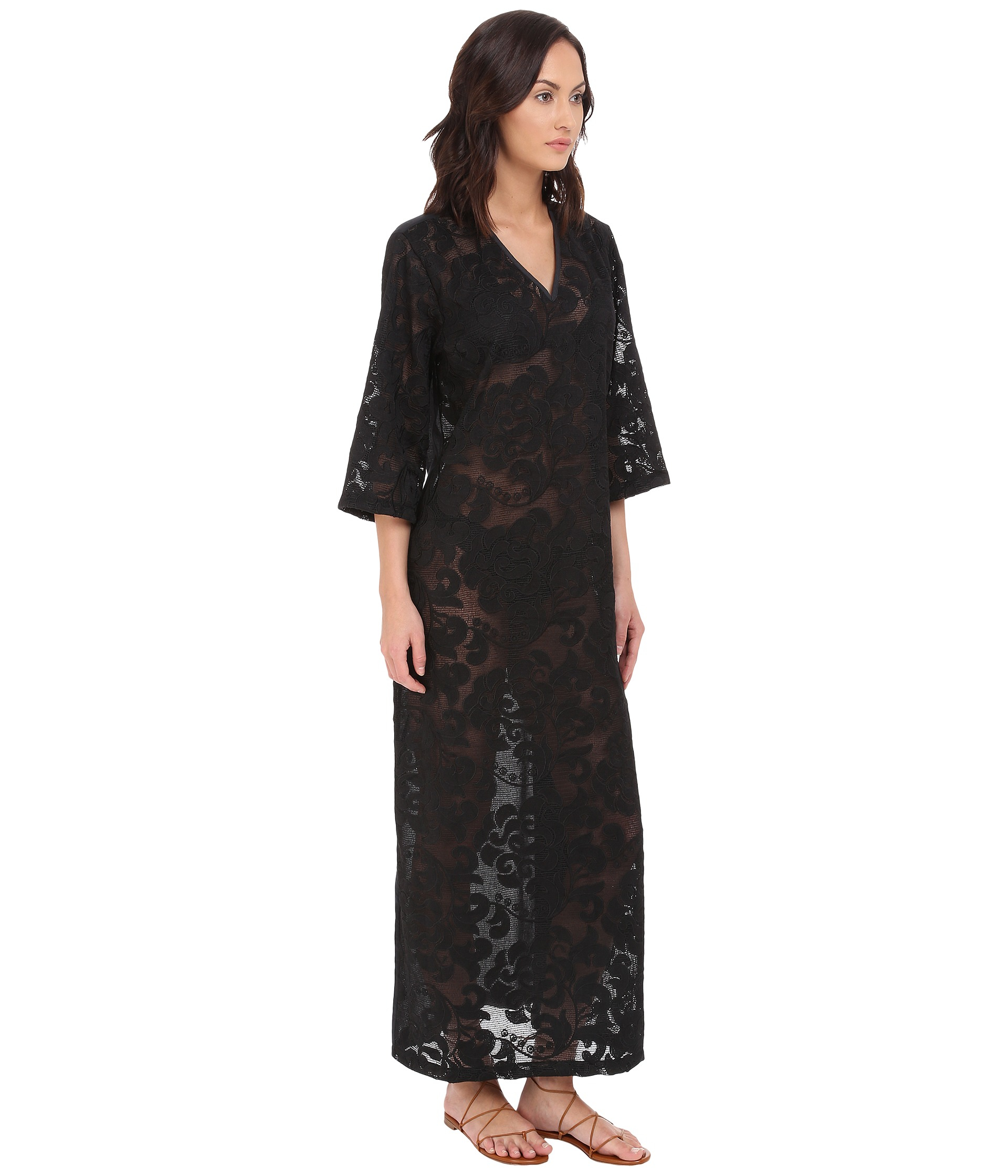 Lyst Agua De Coco Lace Long Dress Cover Up In Black