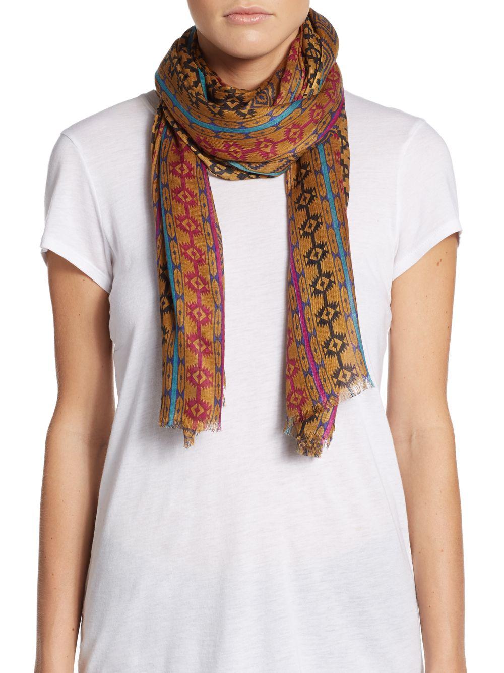 saks fifth avenue ganado print scarf lyst