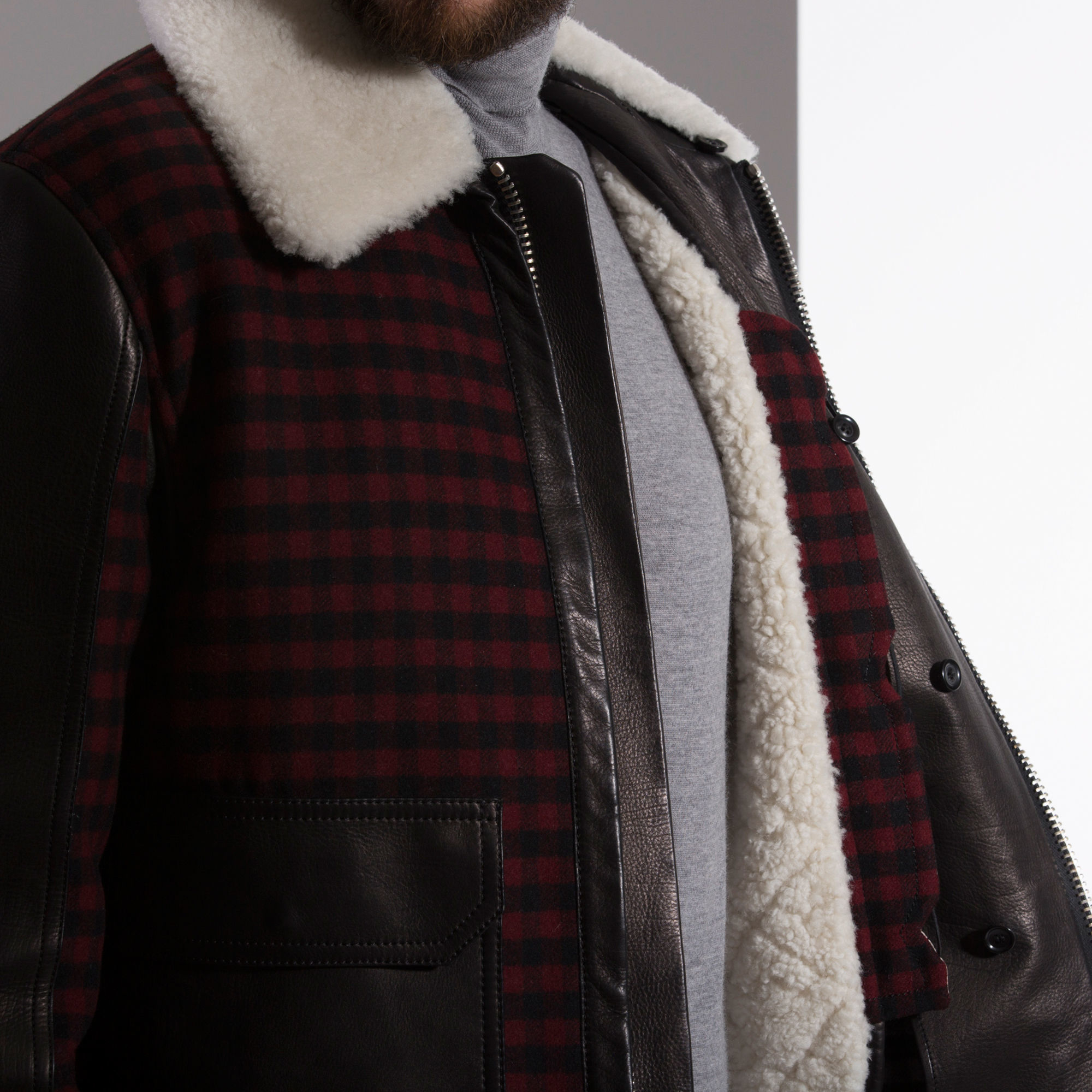 Lyst Bally Leather Wool Coat In Brown For Men