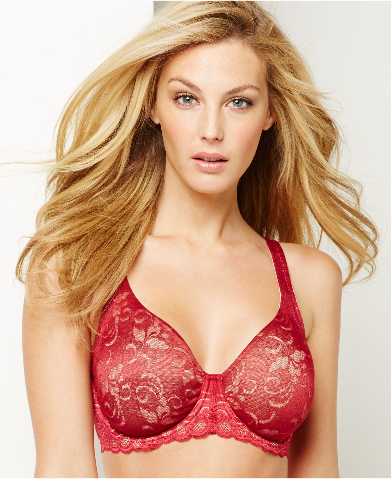 26468063d9812 Lyst - Lilyette By Bali Beautiful Support Lace Minimizer Bra 977 in Red