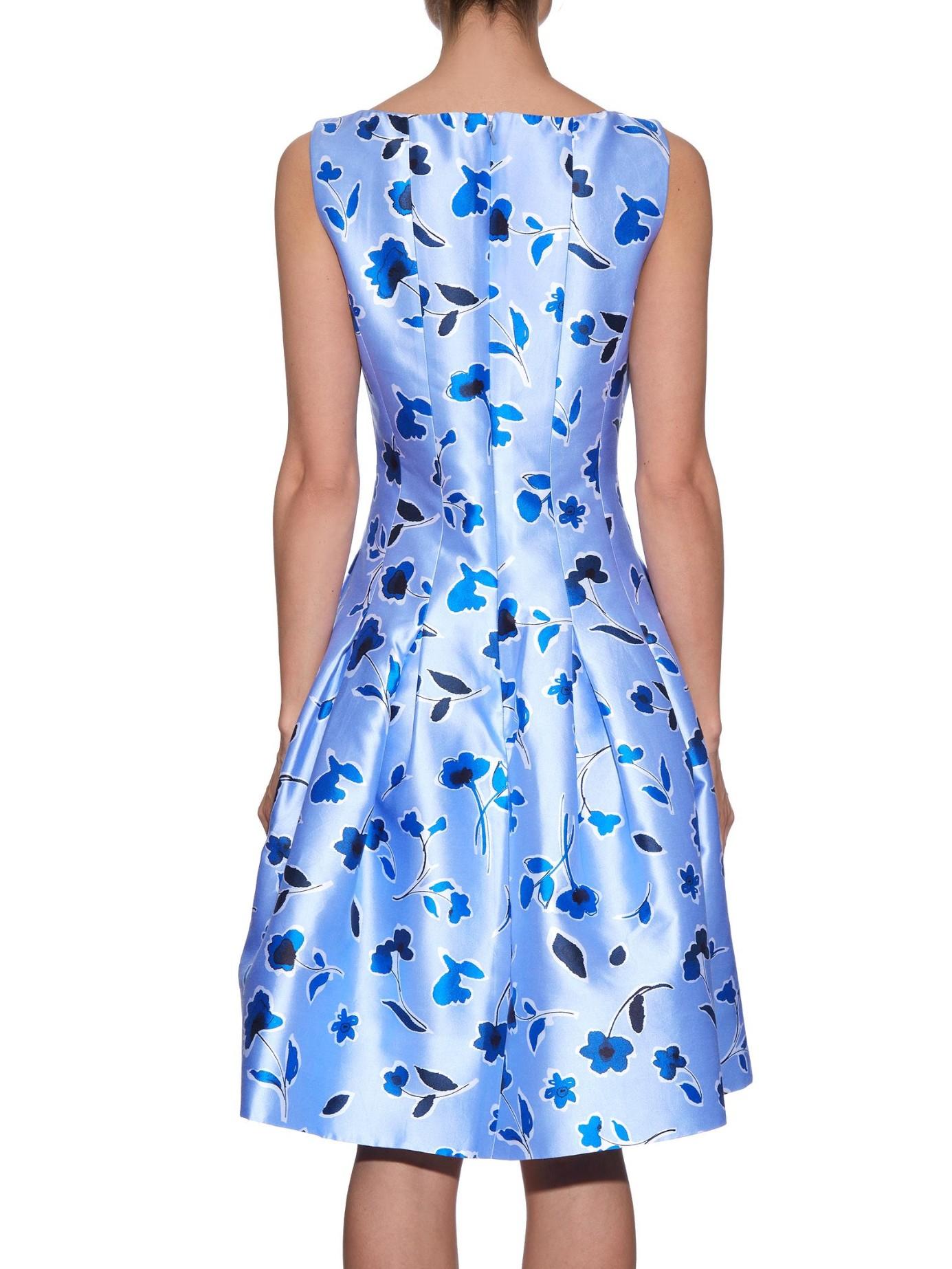 2b543f8e16bcb Oscar de la Renta Pleated Printed Silk And Cotton-blend Dress in ...