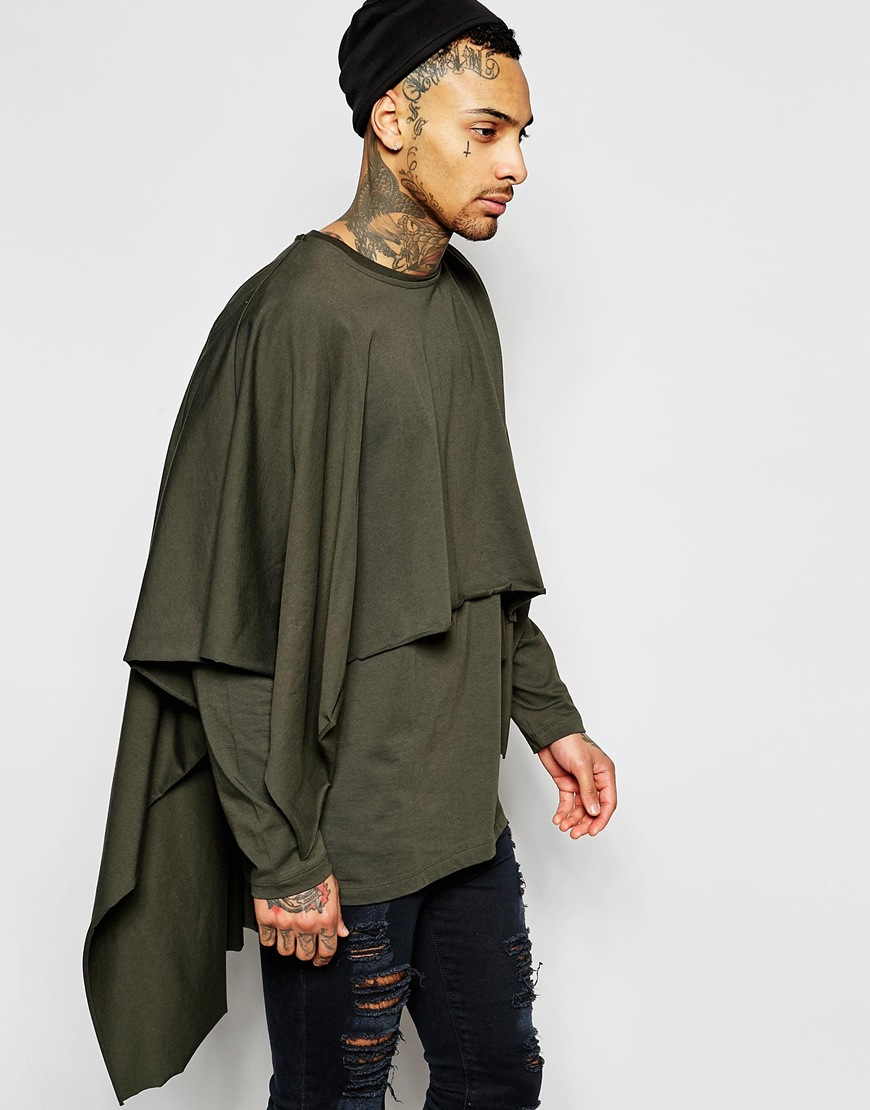 Well-known Lyst - Asos Super Longline Double Layer Poncho In Khaki in Green  HP52