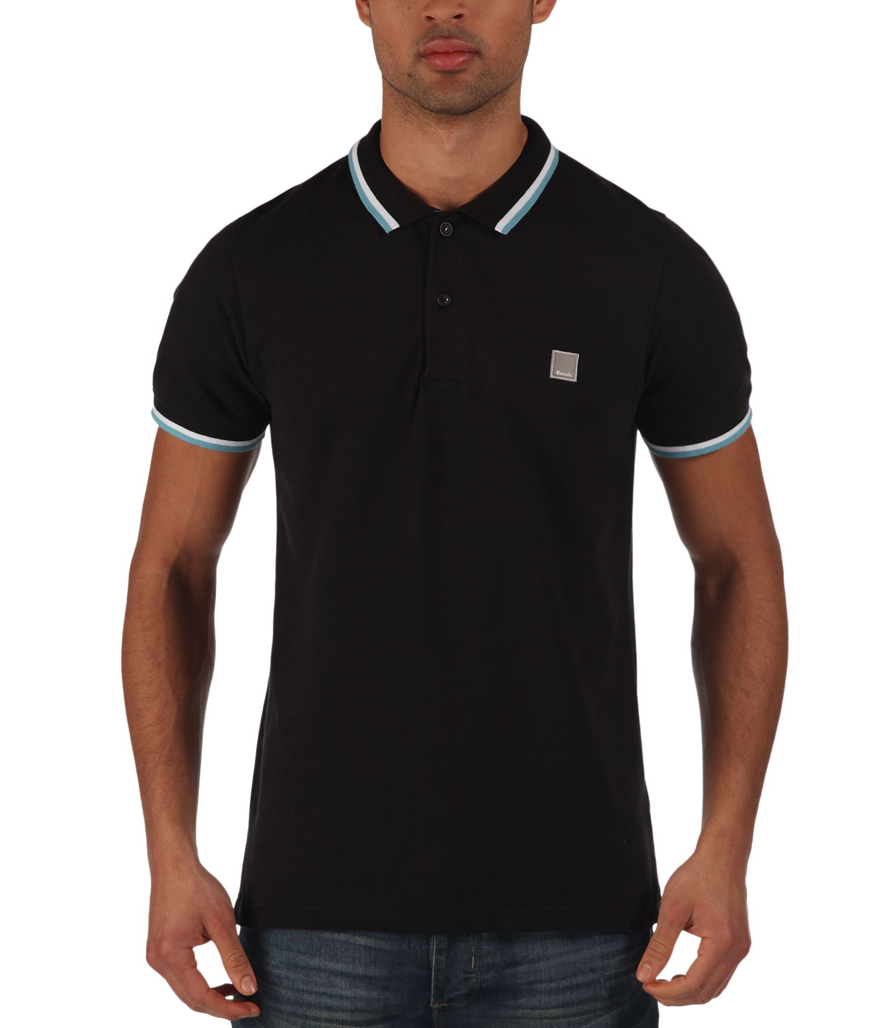Bench competitor b plain polo regular fit polo shirt in for Black fitted polo shirt