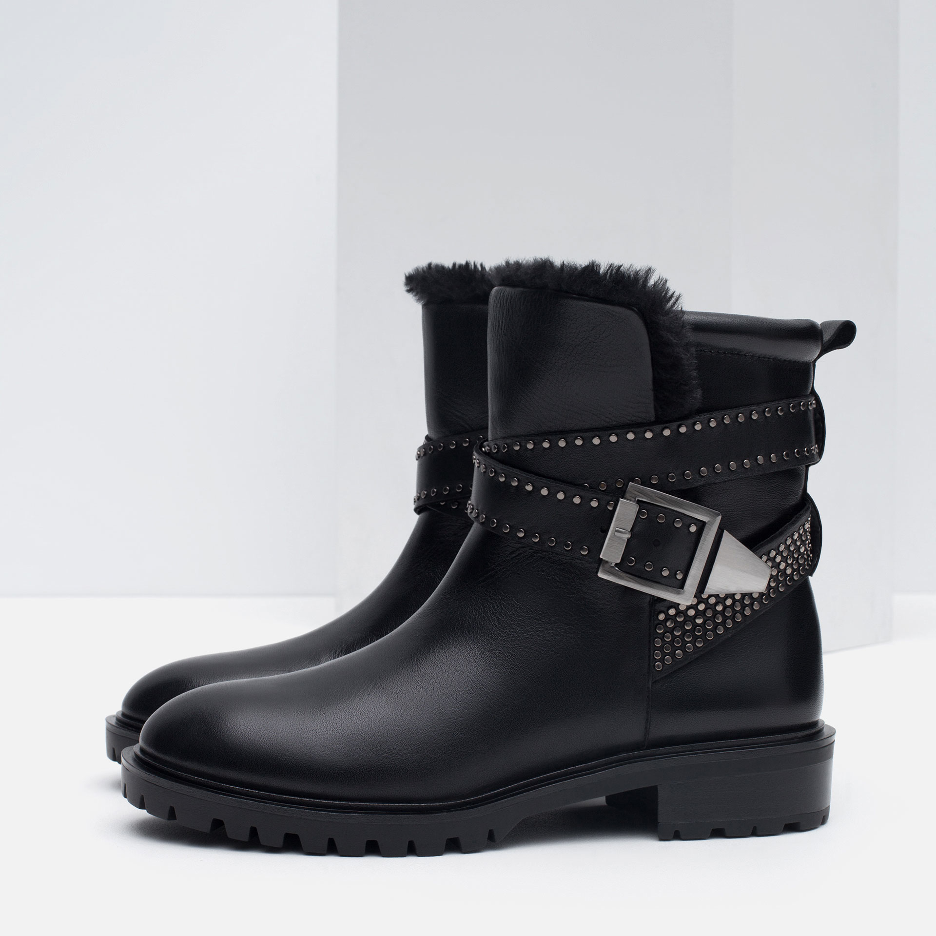 zara leather biker ankle boots with straps in black lyst