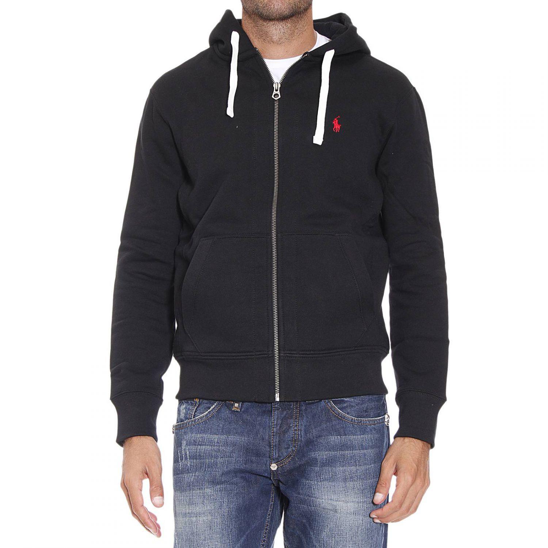 polo ralph lauren sweater classic hooded fleece zip in black for men lyst. Black Bedroom Furniture Sets. Home Design Ideas