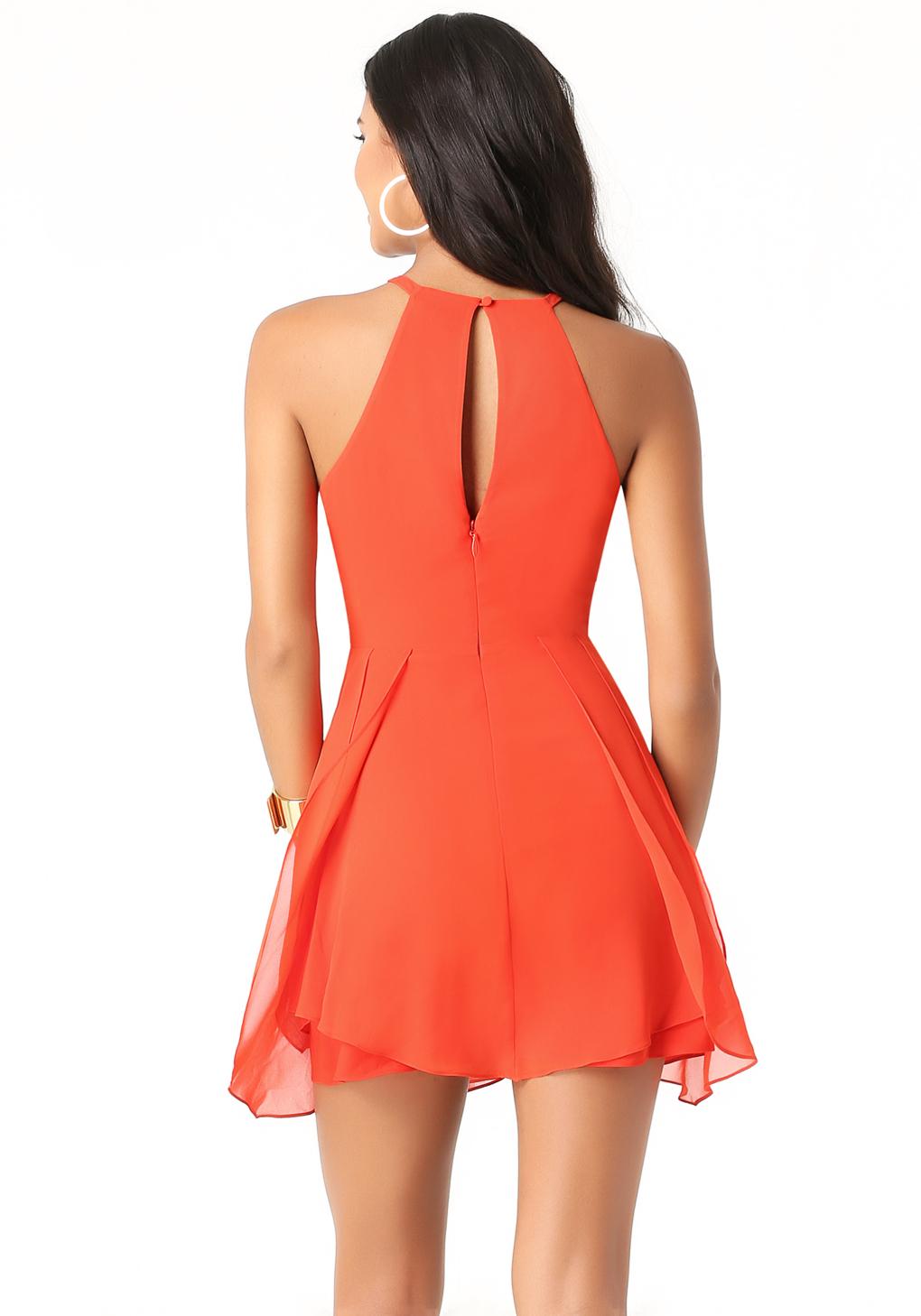 Lyst Bebe Tulip Skirt Keyhole Dress In Orange
