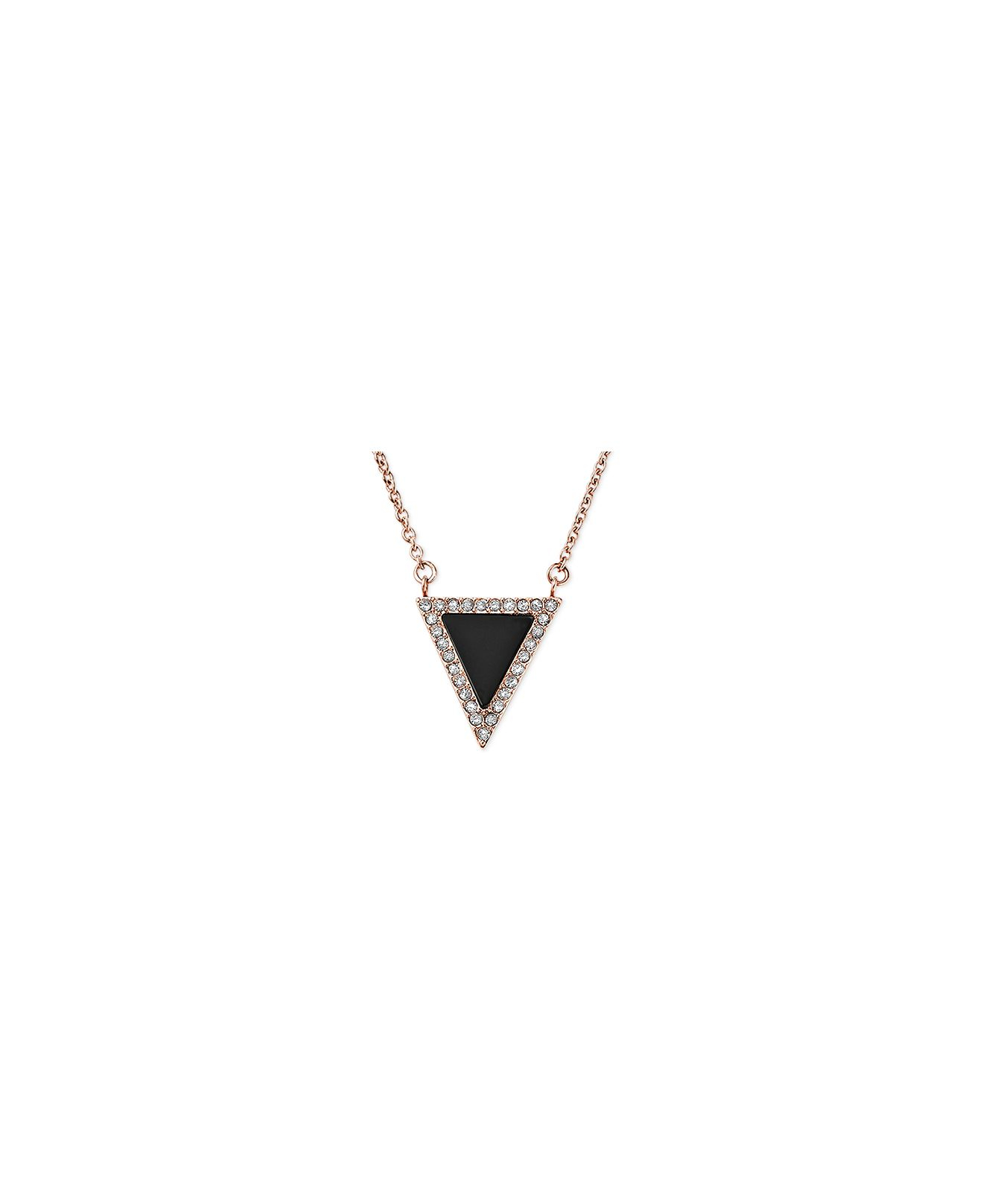 Lyst michael kors rose gold tone jet and crystal triangle gallery previously sold at macys womens michael kors pendant womens snowflake necklaces mozeypictures Image collections