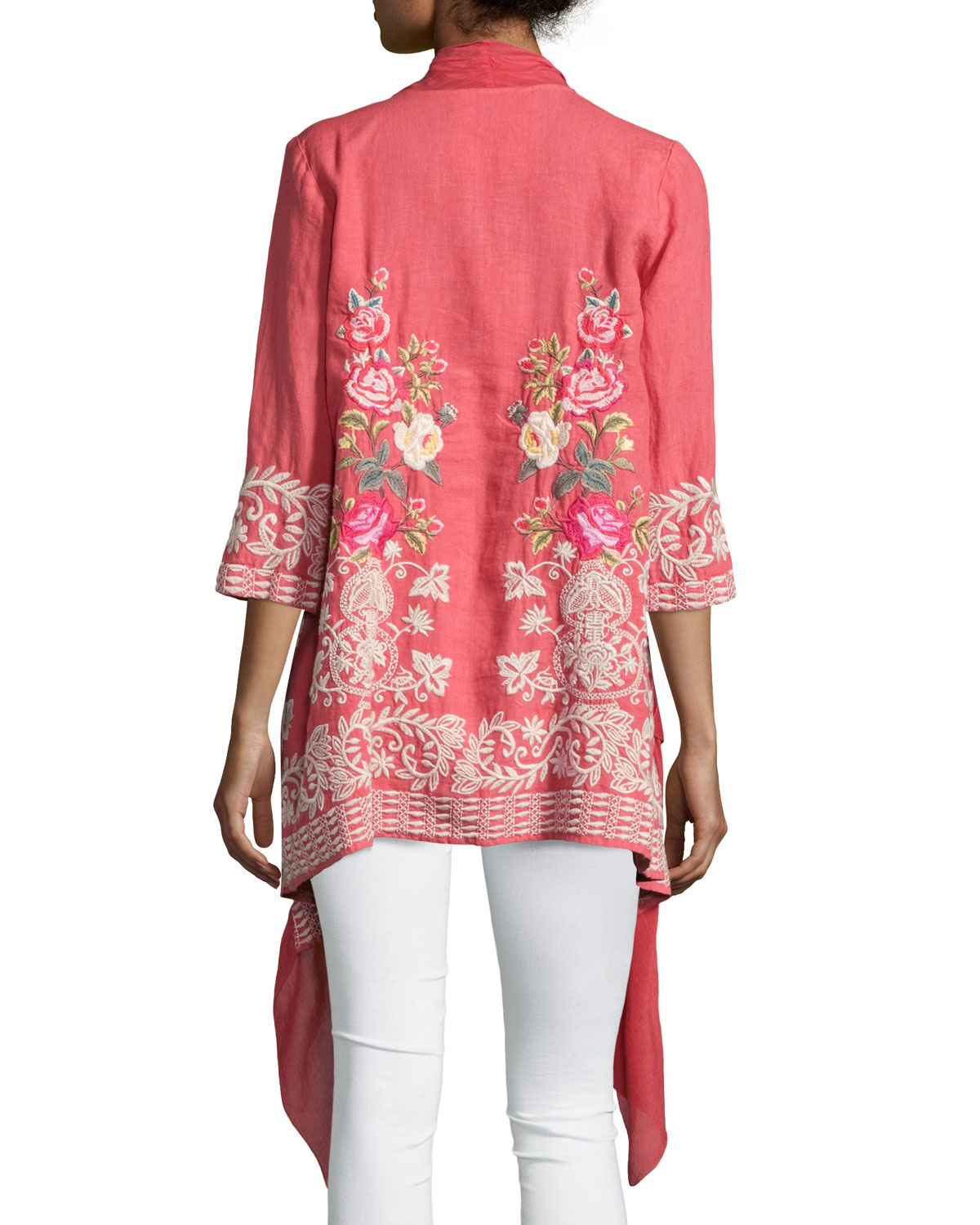 Johnny Was Michaela Draped-front Embroidered Cardigan in ...