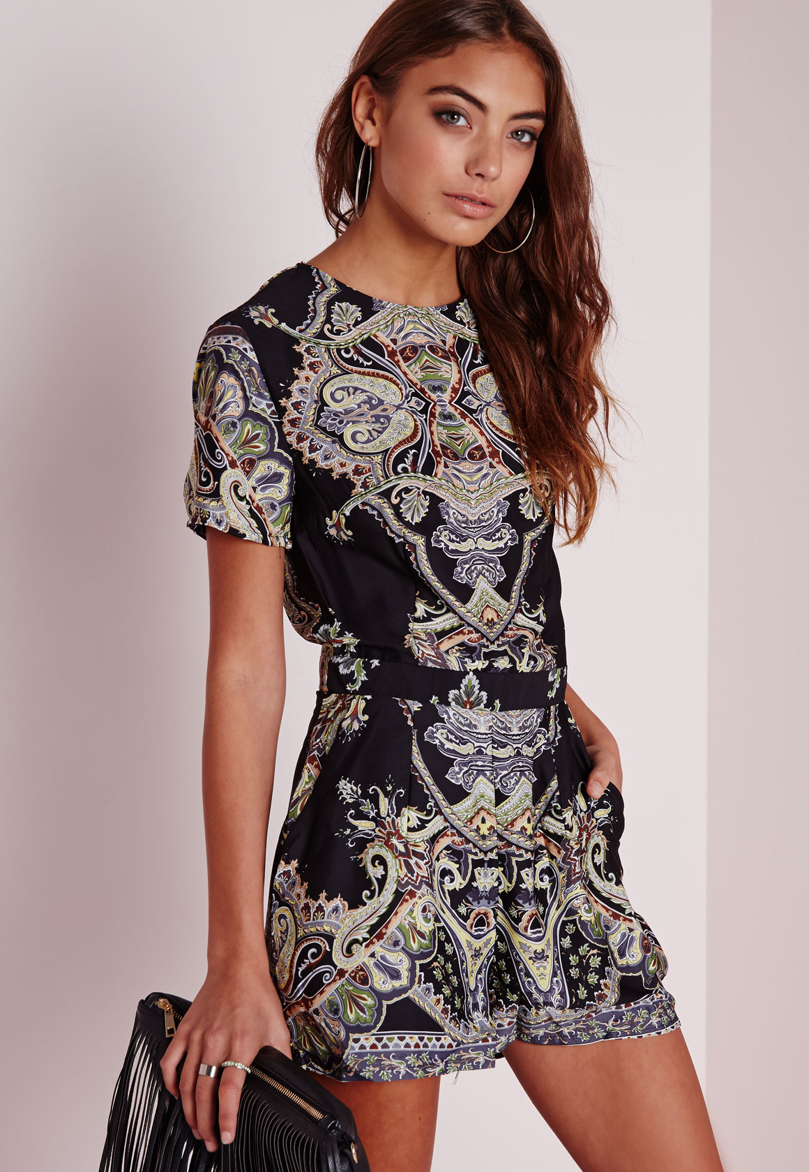 886f09903e Missguided Tall Paisley Print Cap Sleeve Playsuit Black in Black - Lyst