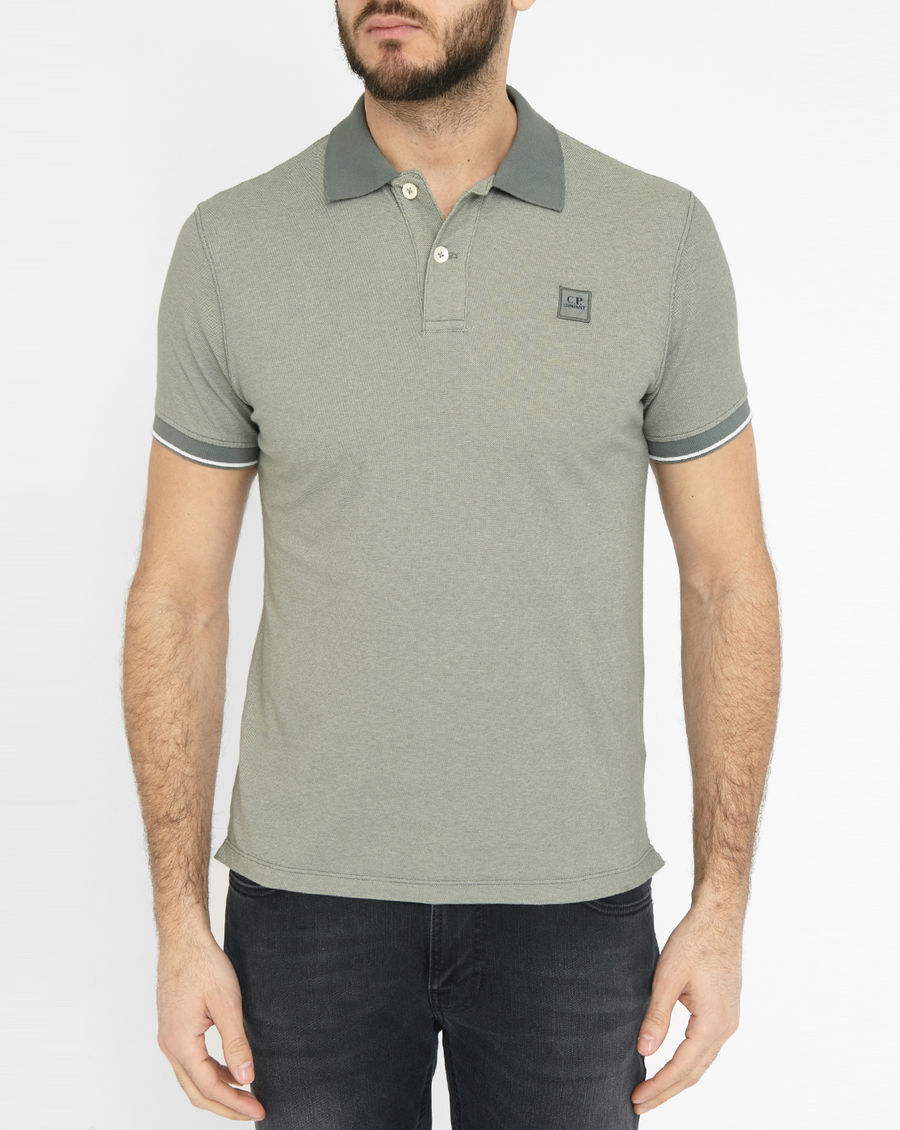 C p company mottled grey cp logo polo shirt in gray for for Corporate polo shirts with logo