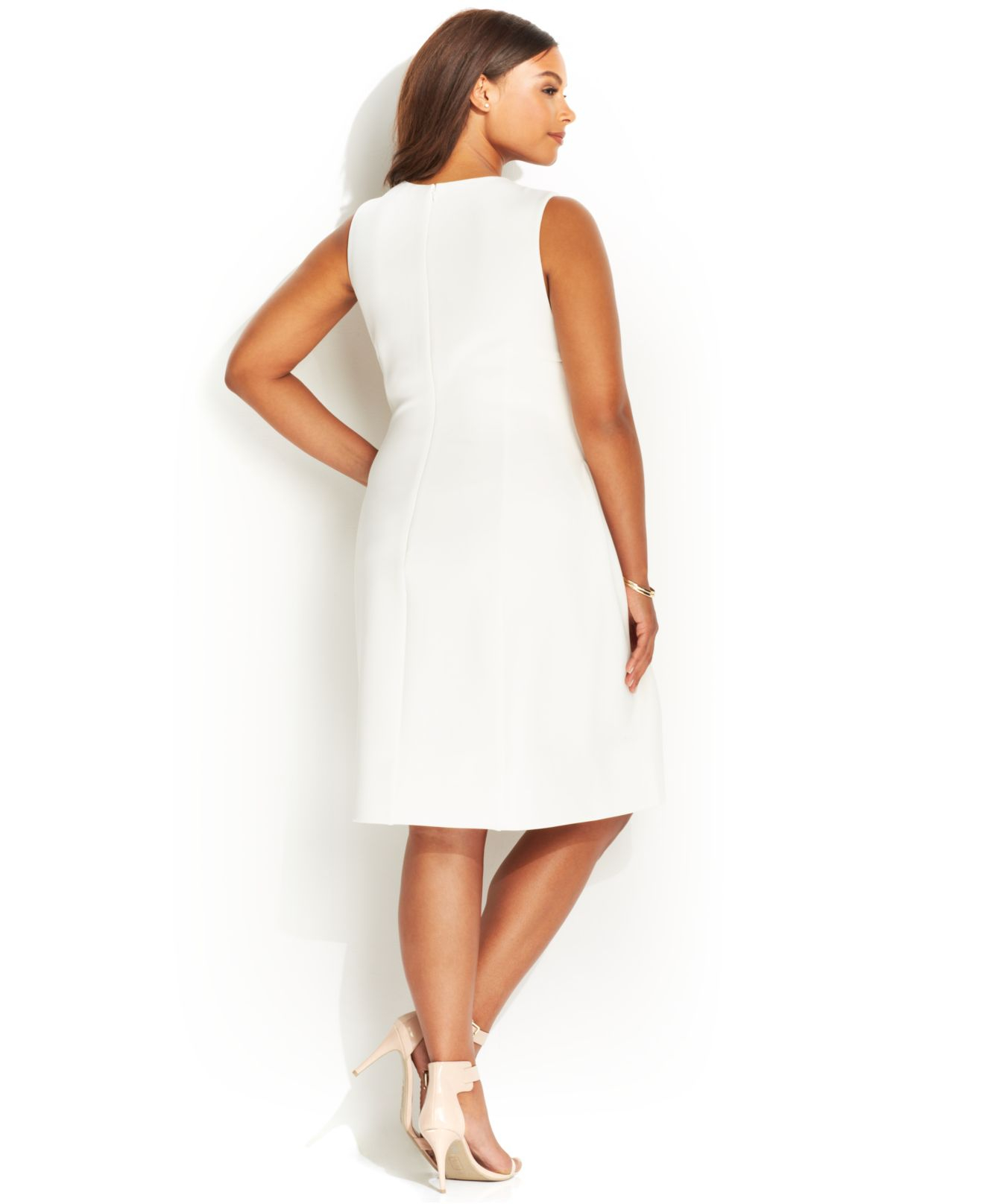 Plus Size Sleeveless Side-Pleat Scuba Dress