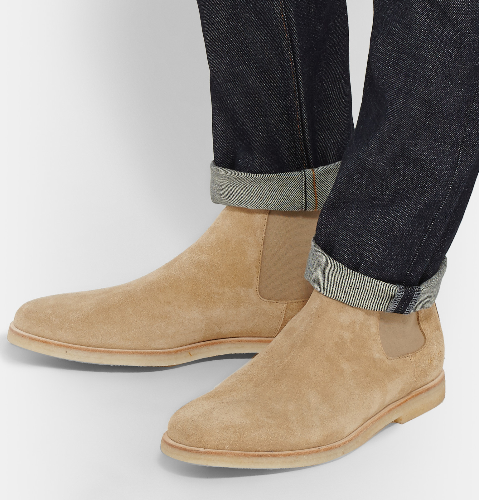 Common Projects Suede Chelsea Boots In Natural For Men Lyst
