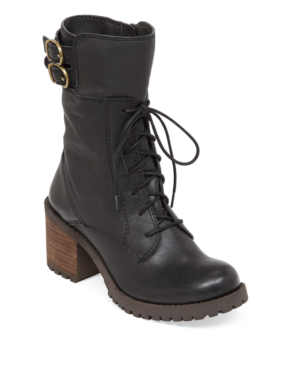 lucky brand nylah leather mid shaft boots in black lyst