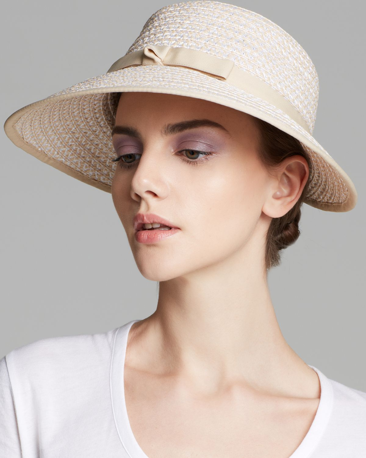 Lyst - Eric Javits Squishee Raffia Ribbon Cap in Natural 86fb33be2d5