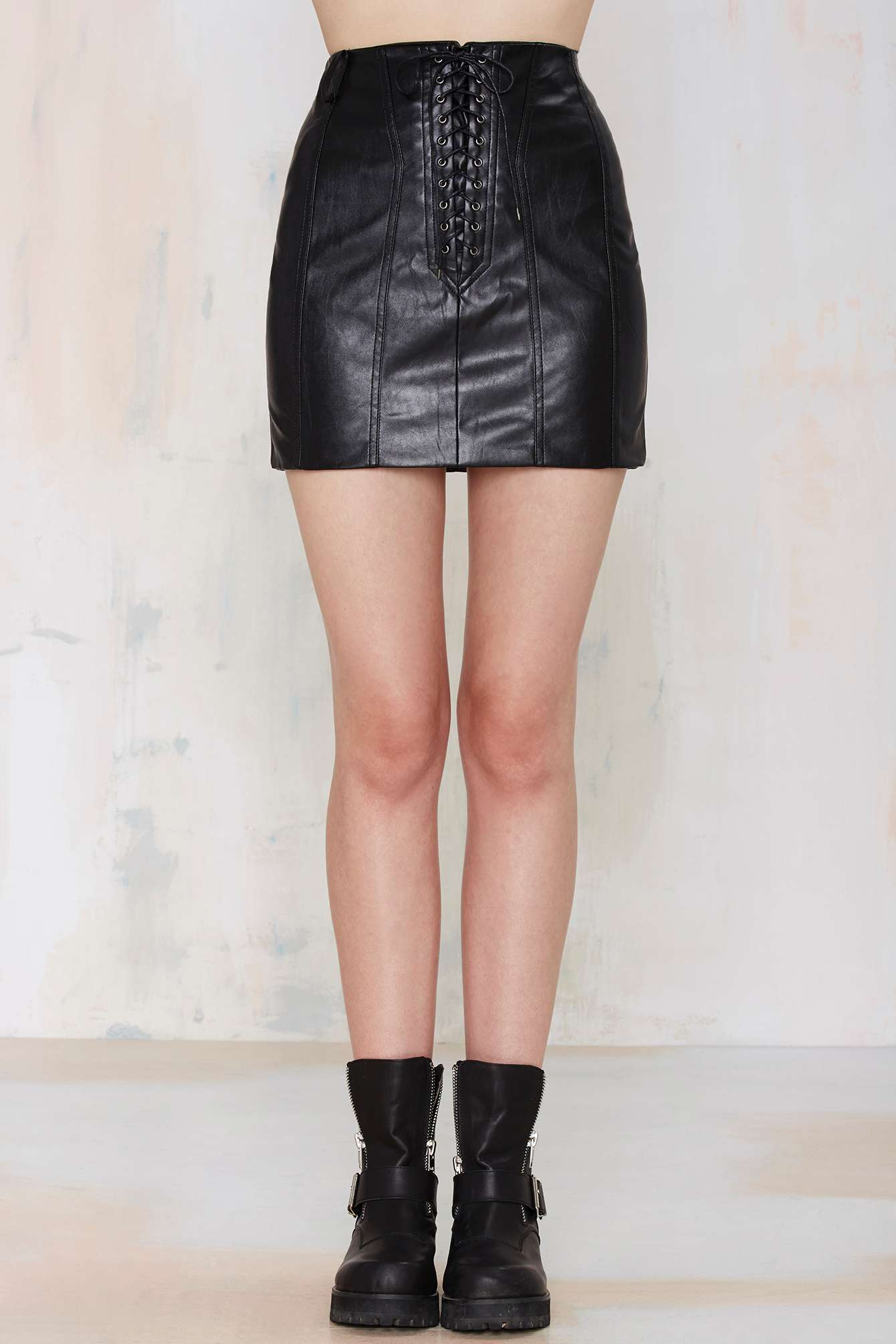 Nasty Gal Battle Scar Lace Up Skirt In Black Lyst
