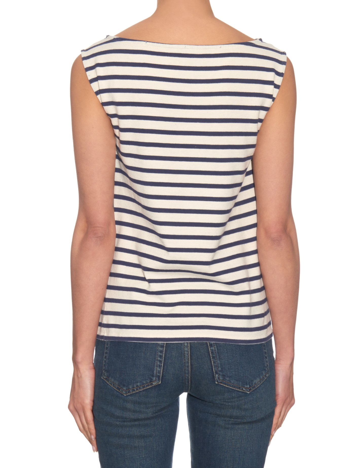saint laurent breton stripe sleeveless t shirt in blue lyst. Black Bedroom Furniture Sets. Home Design Ideas