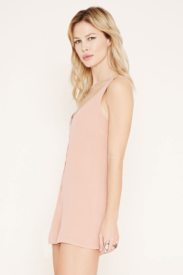 forever 21 dusty pink button front crepe romper pink product 2 901675173 normal