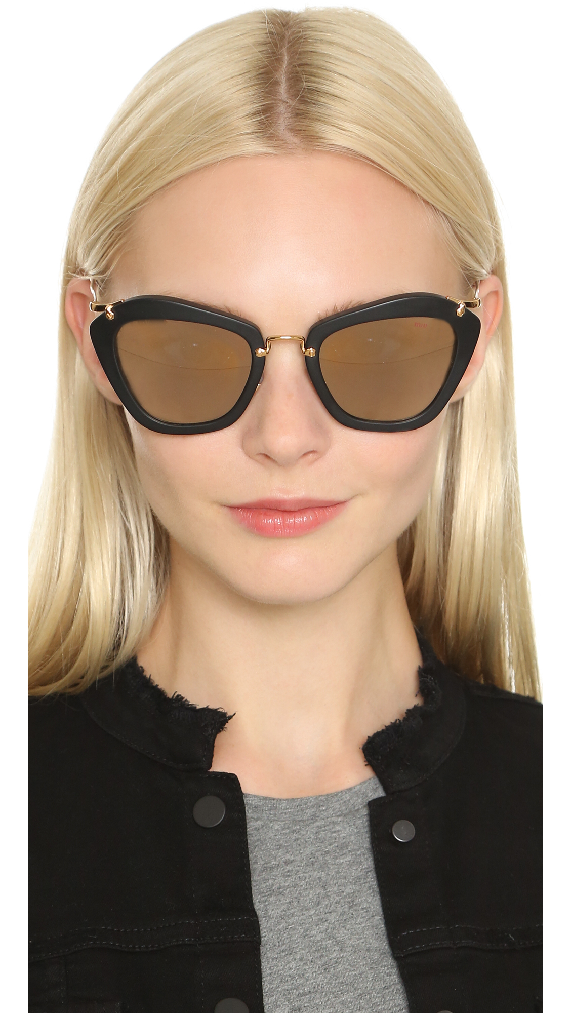 0766e3999413 Miu Miu Matte Cat Eye Sunglasses in Black - Lyst