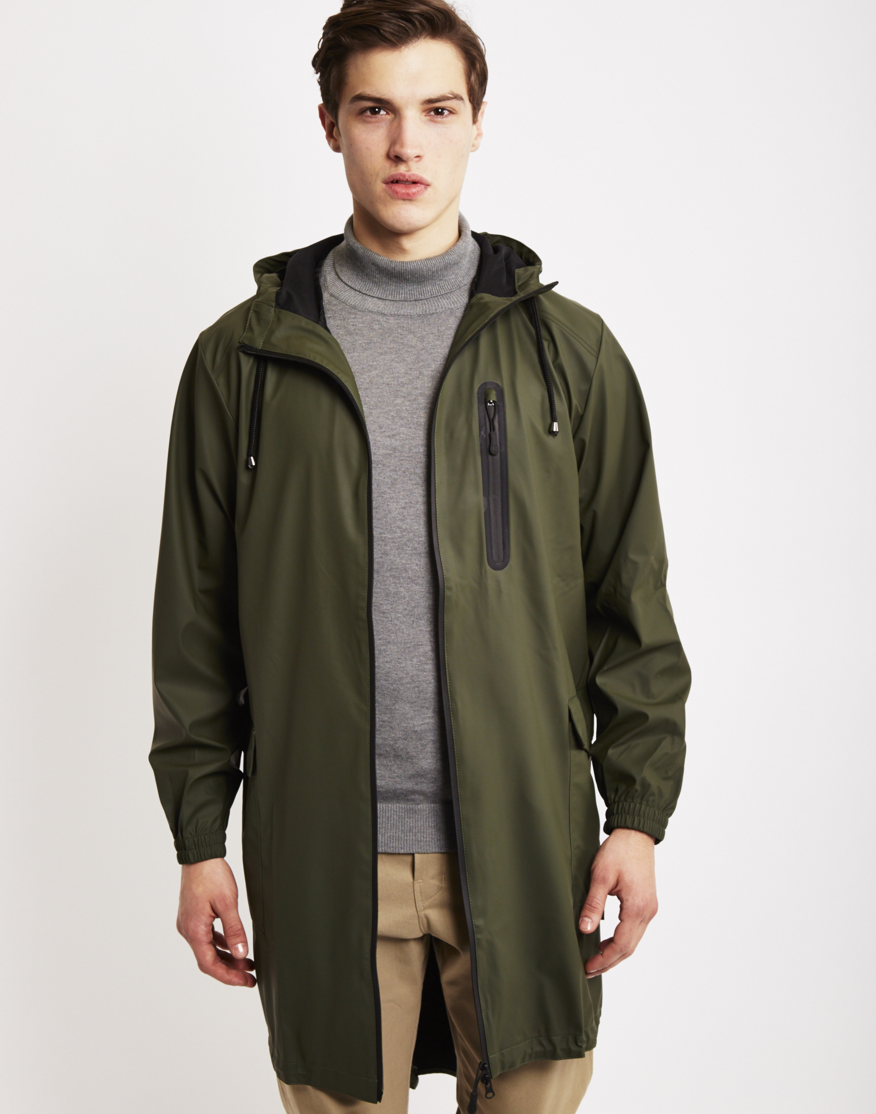 Rains Parka Coat Green in Green for Men | Lyst