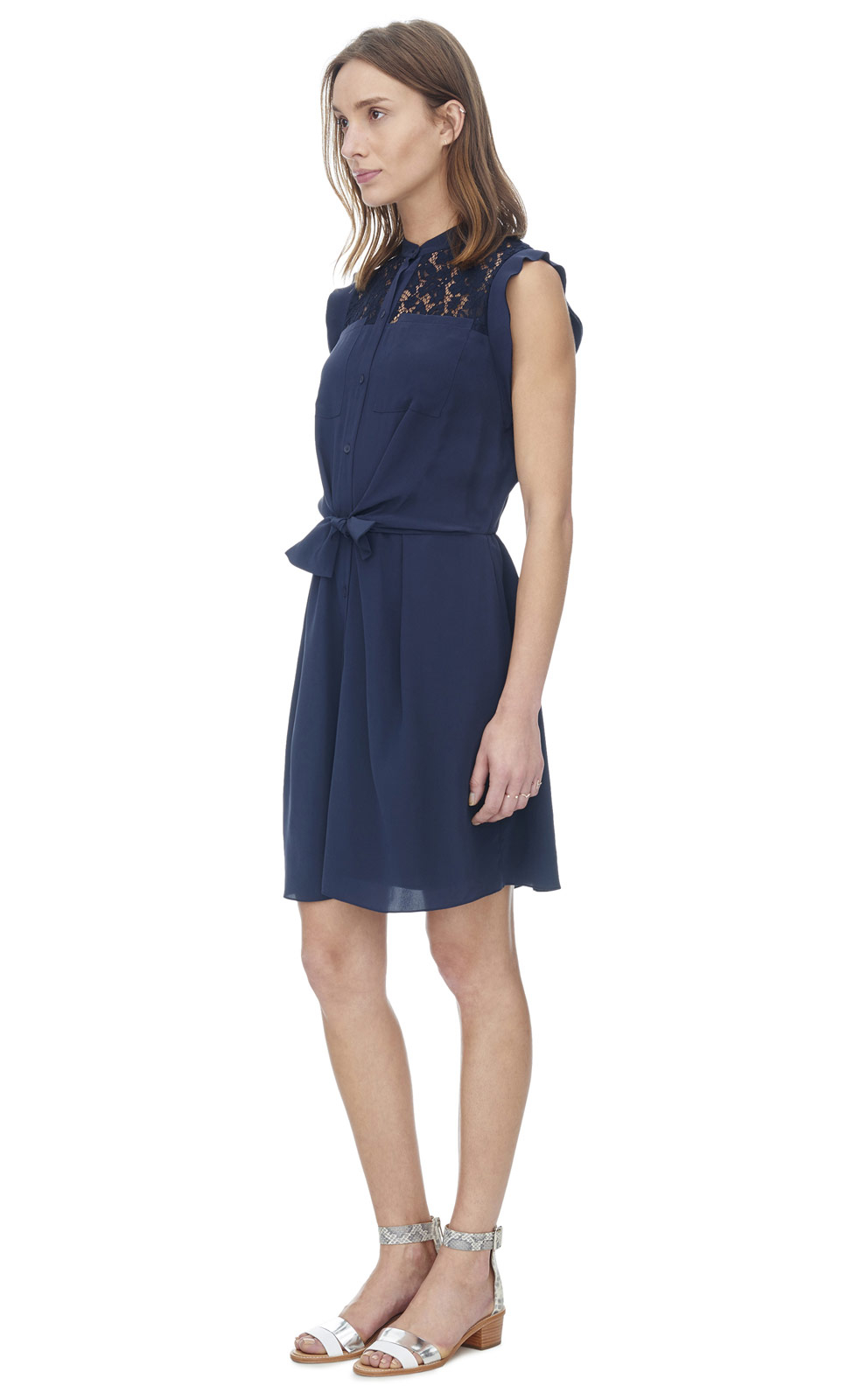 rebecca taylor silk lace shirt dress in blue lyst