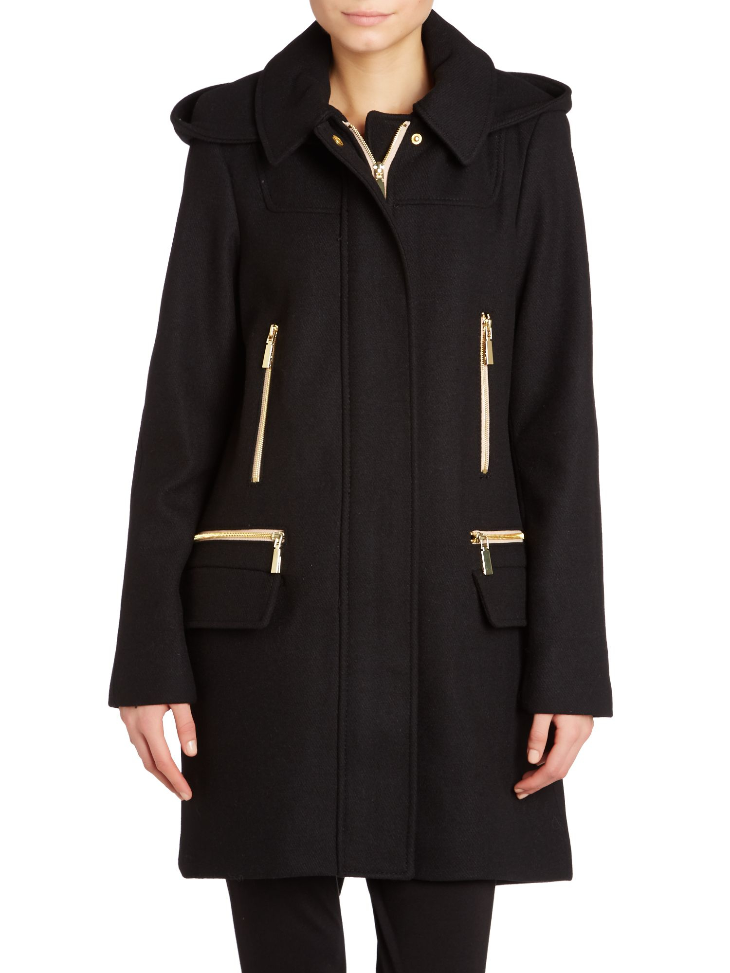 Vince camuto Wool Coat With Zip Pocket in Black | Lyst