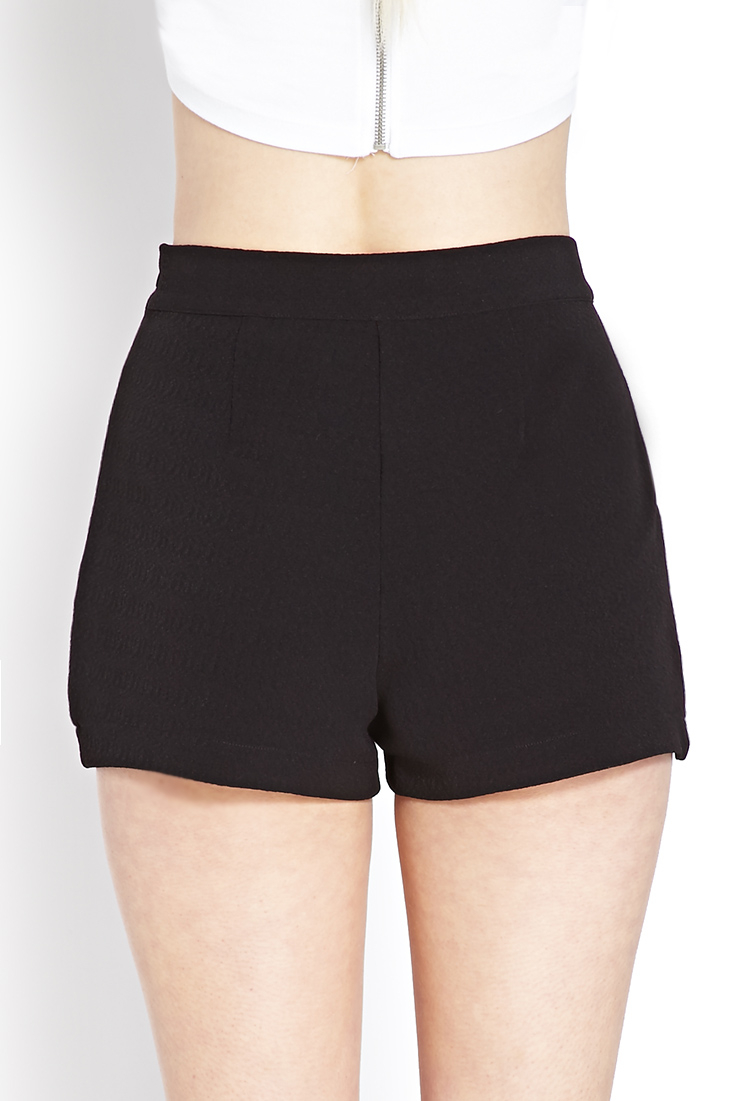 Lyst - Forever 21 Textured Origami Shorts in Black - photo#47