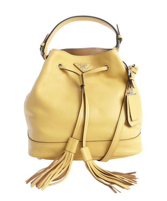 Prada Gorse Yellow Leather Large Bucket Bag in Yellow | Lyst