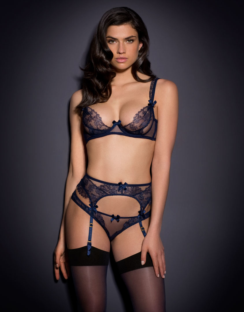 agent provocateur willa bra navy in blue lyst. Black Bedroom Furniture Sets. Home Design Ideas