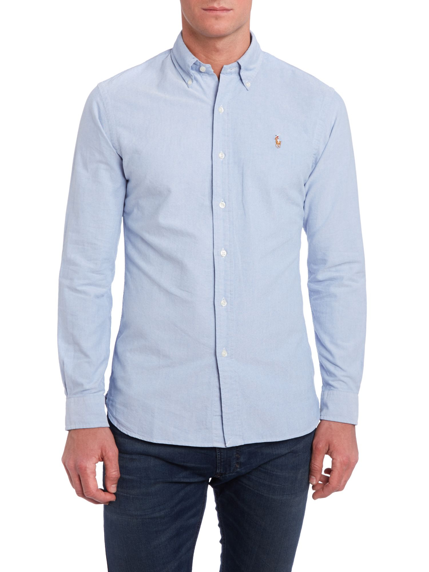 polo ralph lauren long sleeve slim fit oxford shirt in blue for men lyst. Black Bedroom Furniture Sets. Home Design Ideas