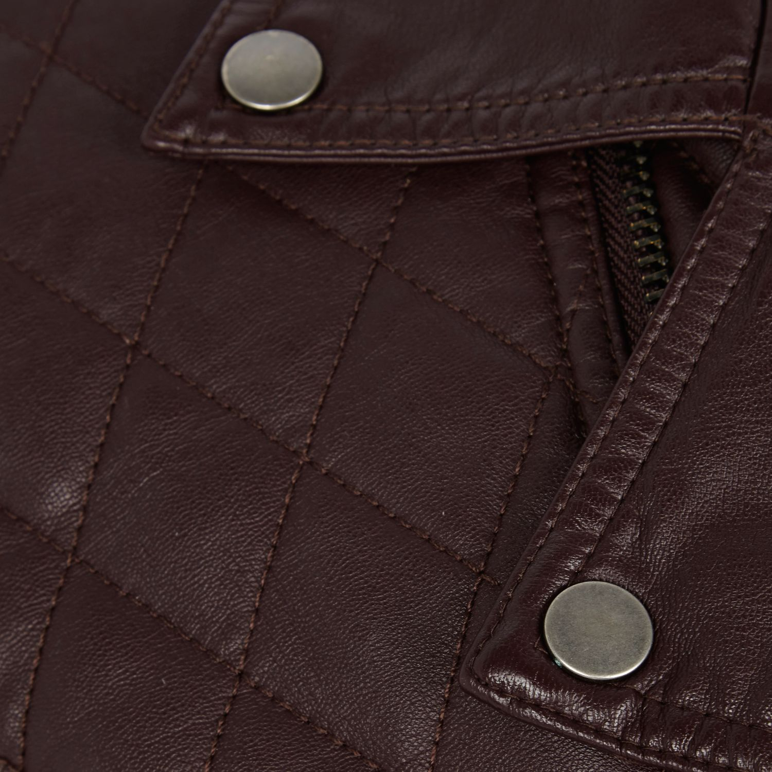 River Island Dark Red Leather-Look Quilted Biker Jacket for Men