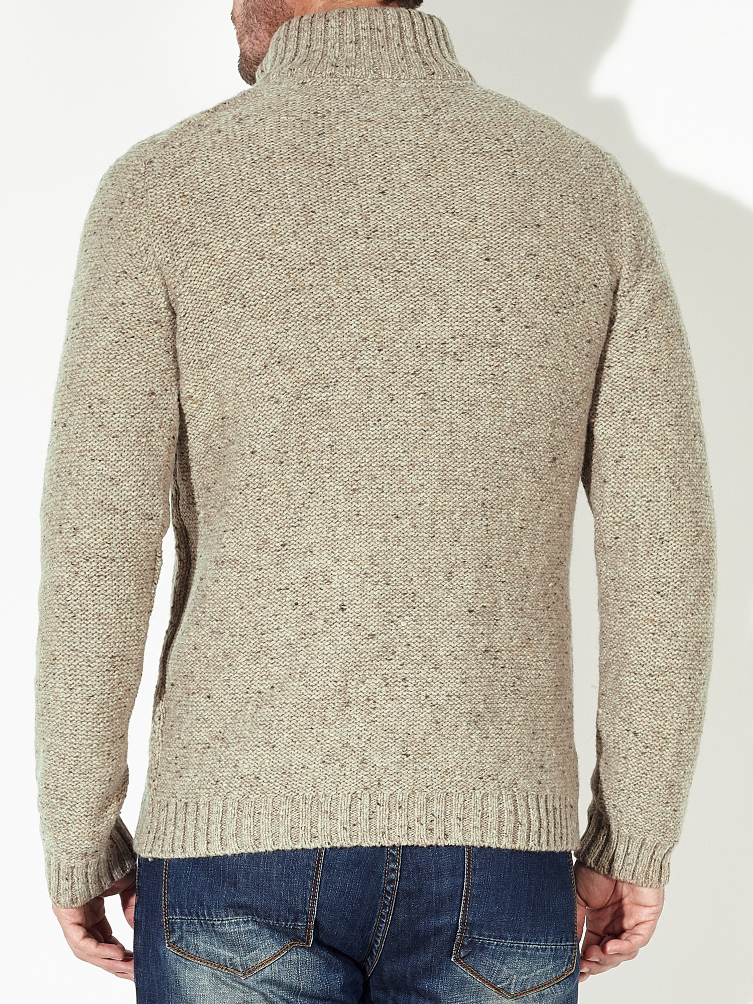 John Lewis Frosty Cable Knit Zip Neck Jumper in Light (Natural) for Men