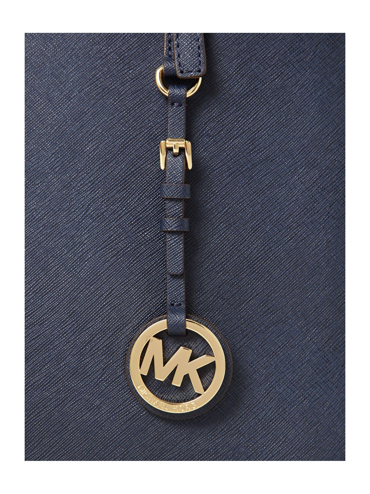 Michael Kors Leather Jet Set Travel Medium Tote Bag in Navy (Blue)