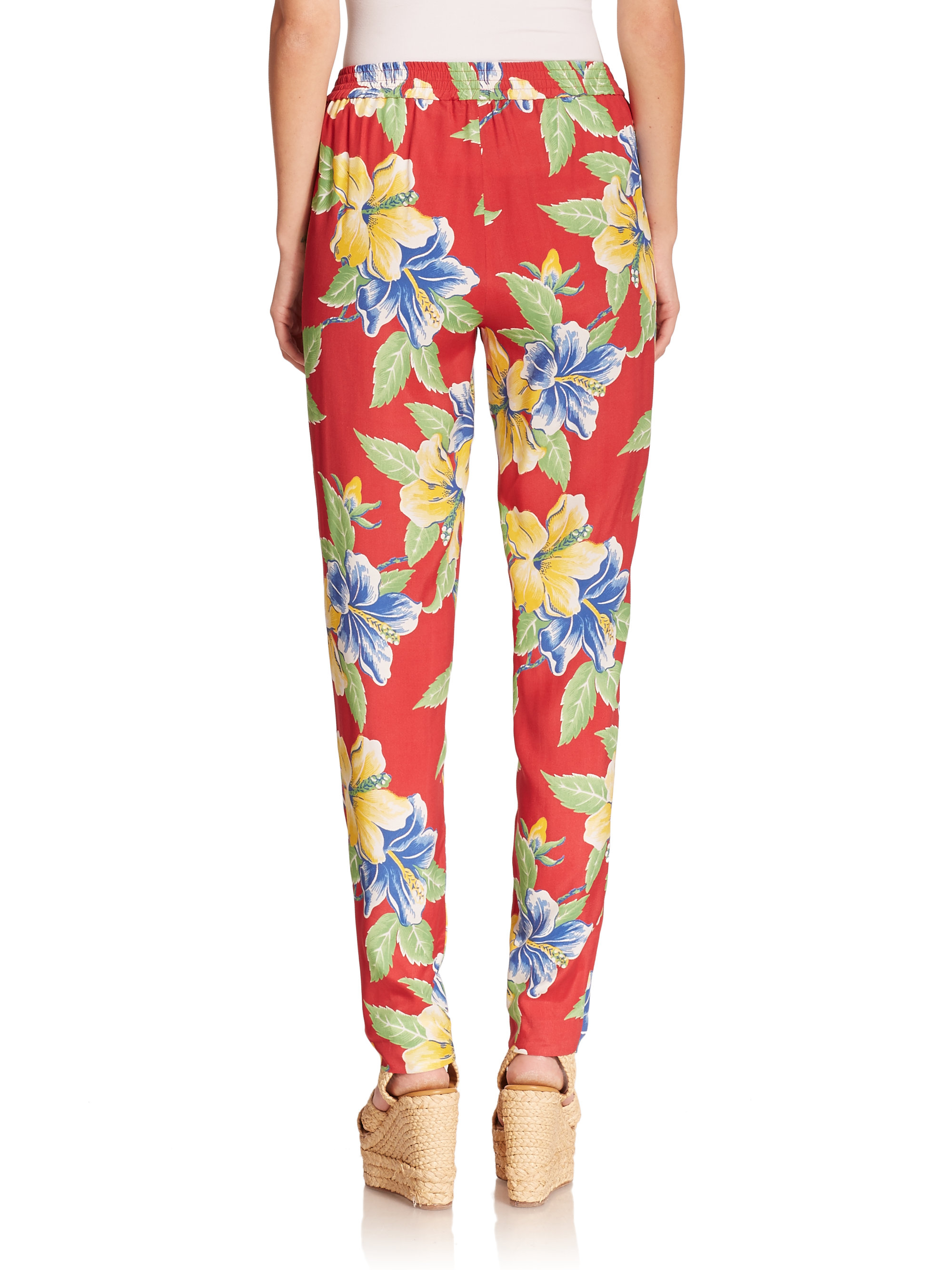 Polo Ralph Lauren Floral Print Pants In Red Lyst