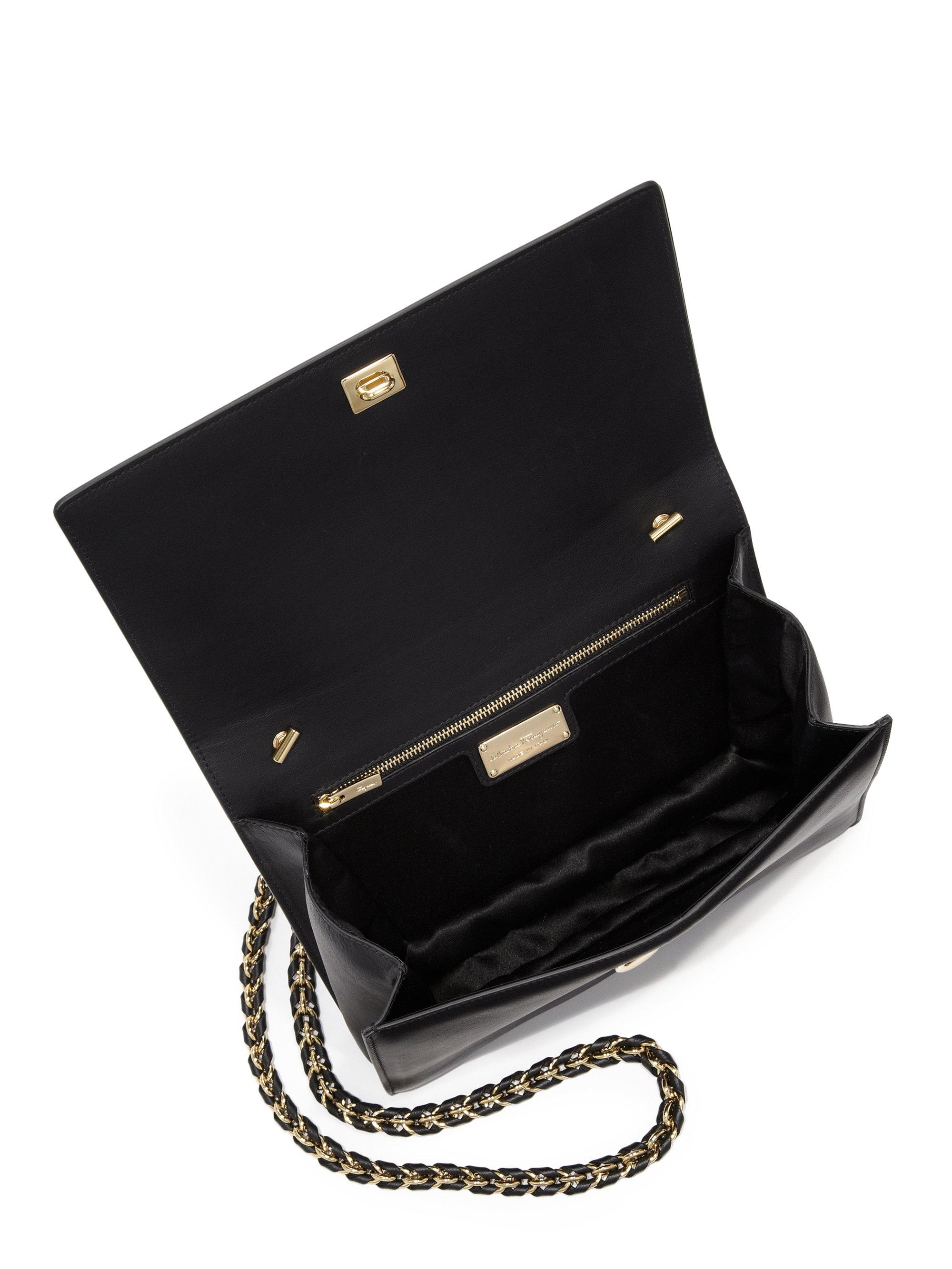 b5c490e1ec0d Lyst - Ferragamo Miss Vara Mini Matelasse Leather Bow Crossbody Bag ...