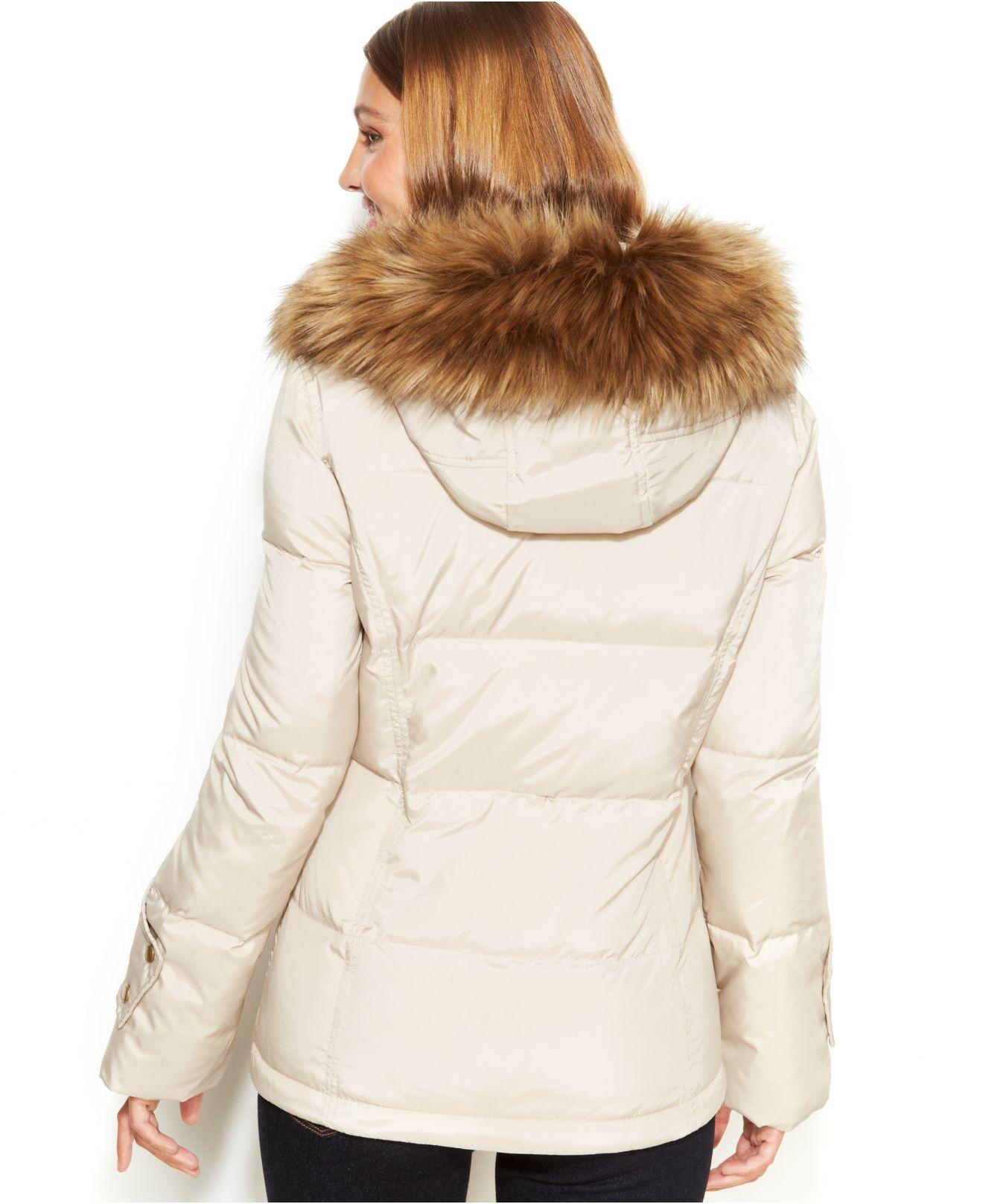 02e68547274e Lyst - Calvin Klein Petite Faux-Fur-Trim Hooded Down Jacket in Blue